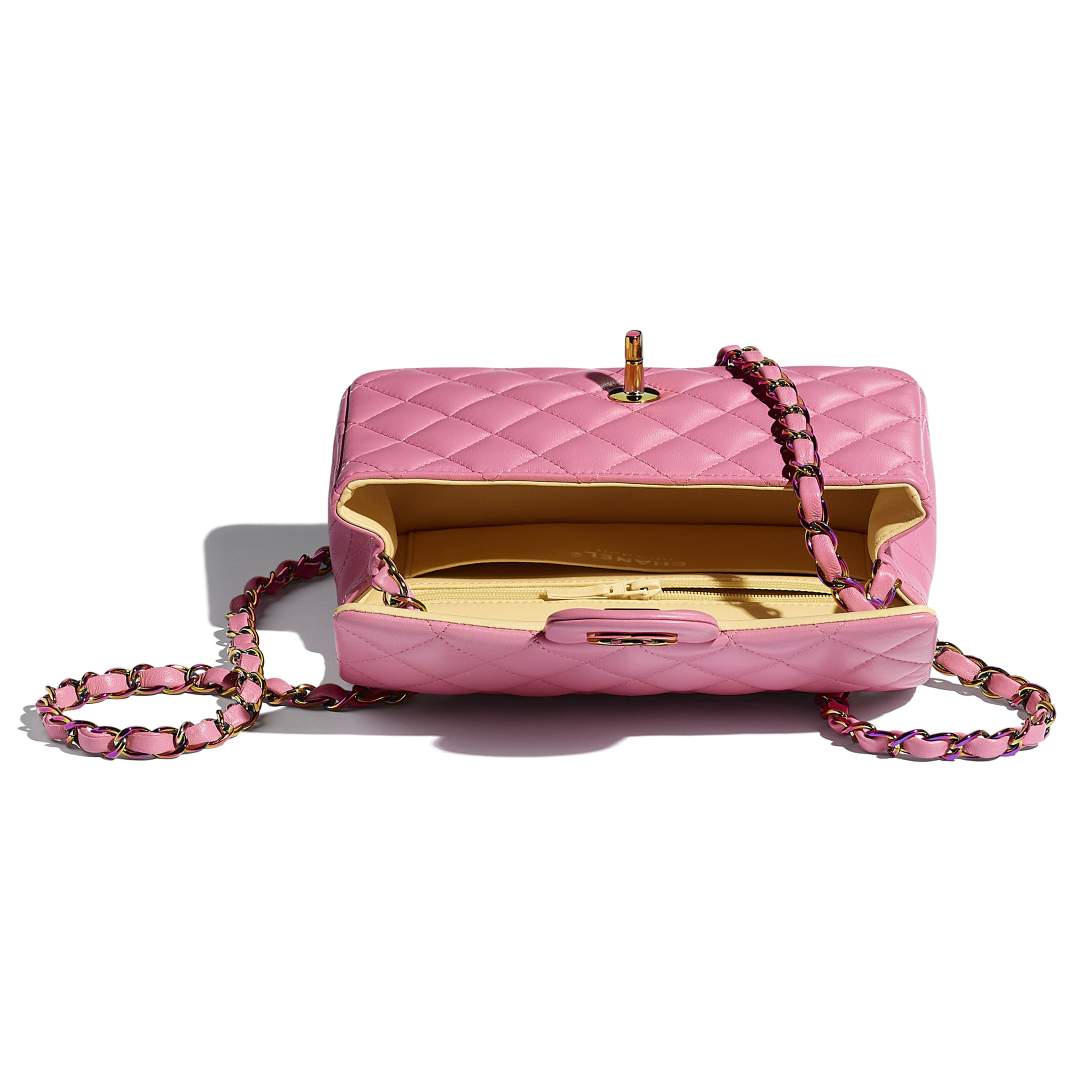 Mini Flap Bag - Pink - Lambskin & Rainbow Metal - CHANEL - Other view - see standard sized version
