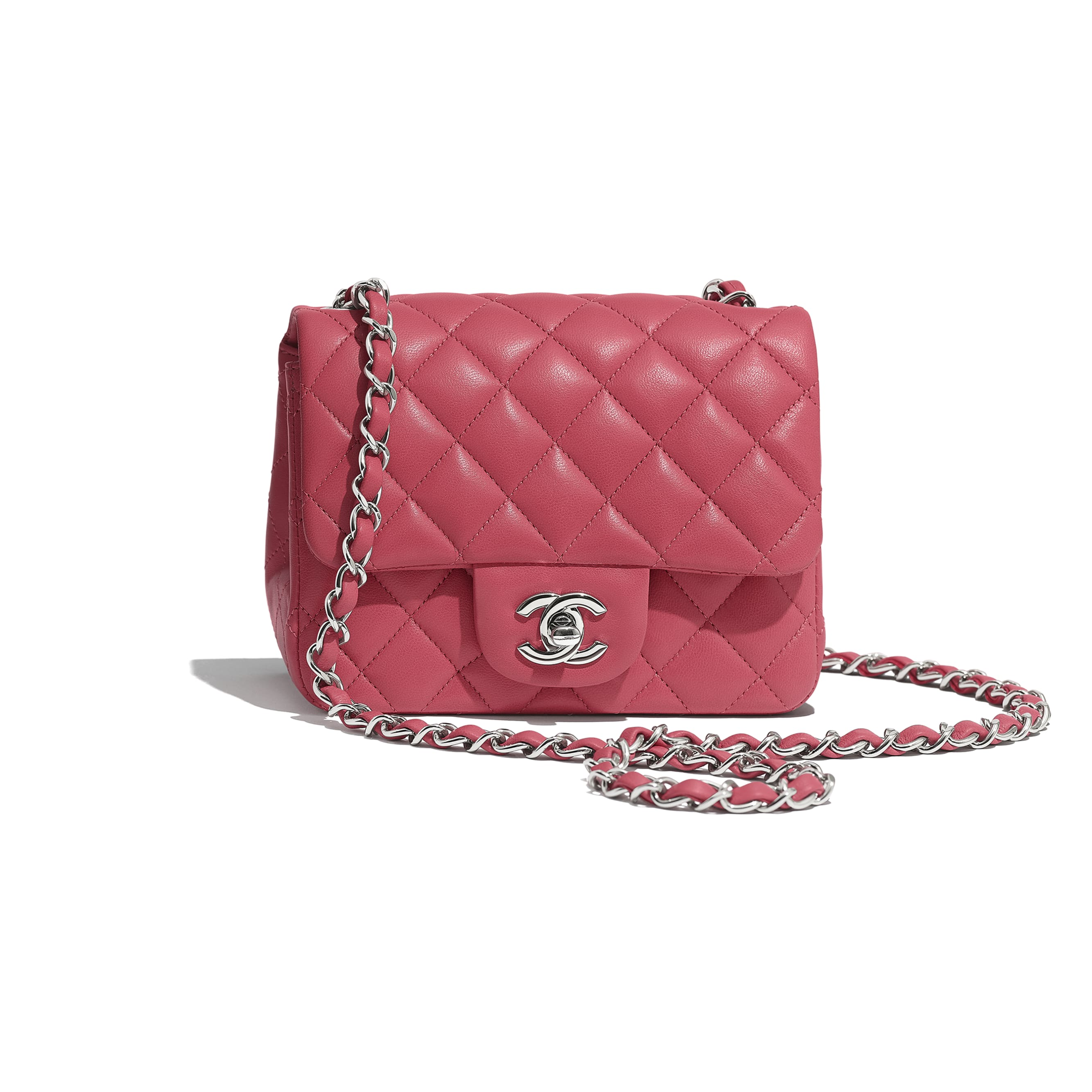 Mini Flap Bag - Pink - Lambskin - Default view - see standard sized version
