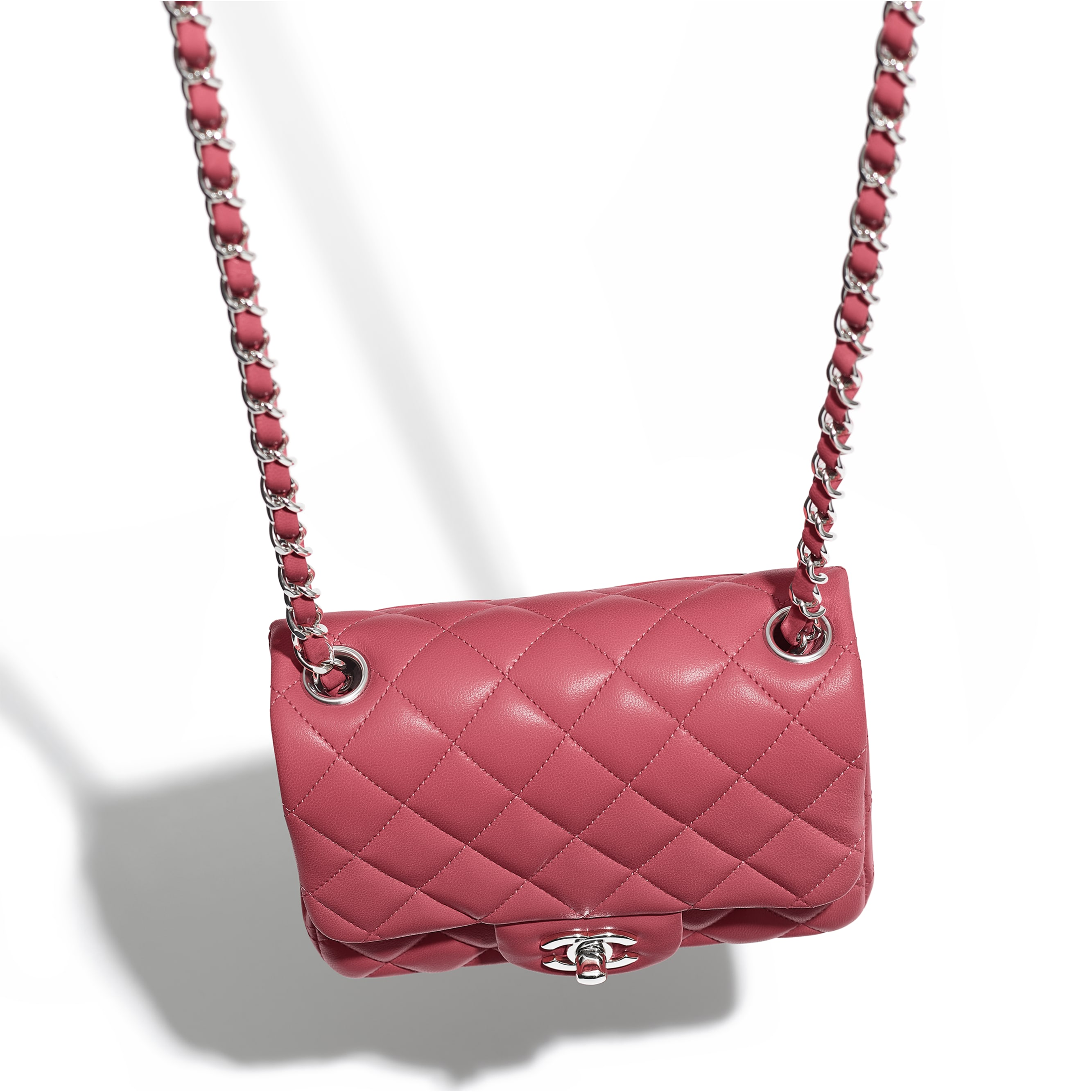 Mini Flap Bag - Pink - Lambskin - Extra view - see standard sized version