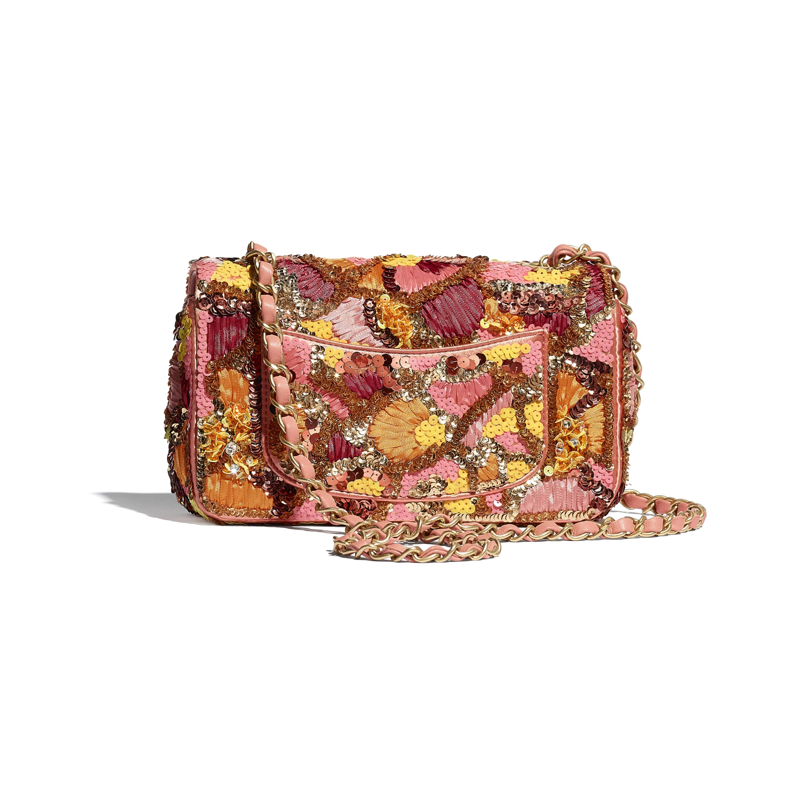 Mini Flap Bag - Pink, White, Yellow & Orange - Sequins, Mixed Fibers, Glass Pearls, Lambskin & Gold-Tone Metal - CHANEL - Alternative view - see standard sized version
