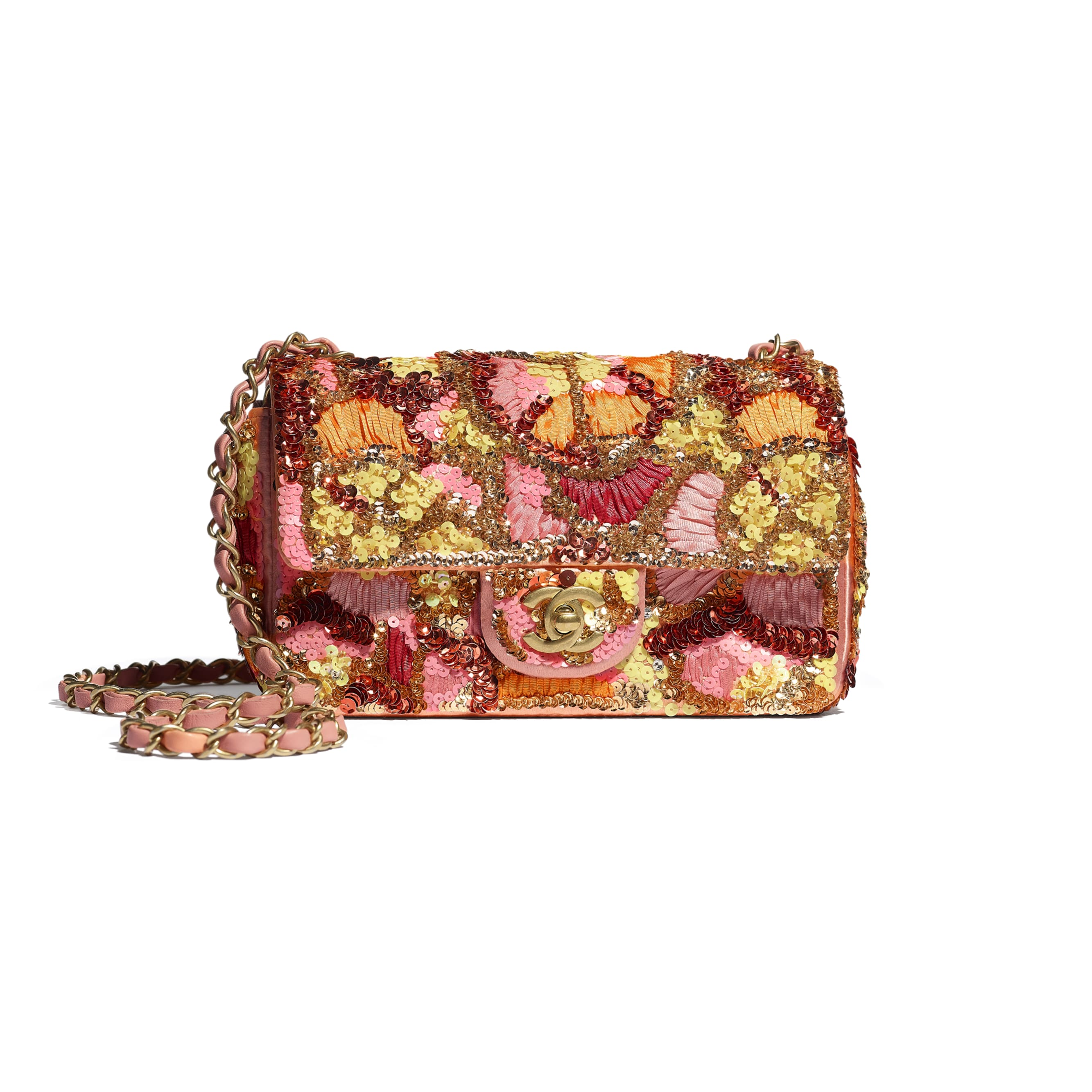 Mini Flap Bag - Pink, White, Yellow & Orange - Sequins, Mixed Fibers, Glass Pearls, Lambskin & Gold-Tone Metal - CHANEL - Default view - see standard sized version