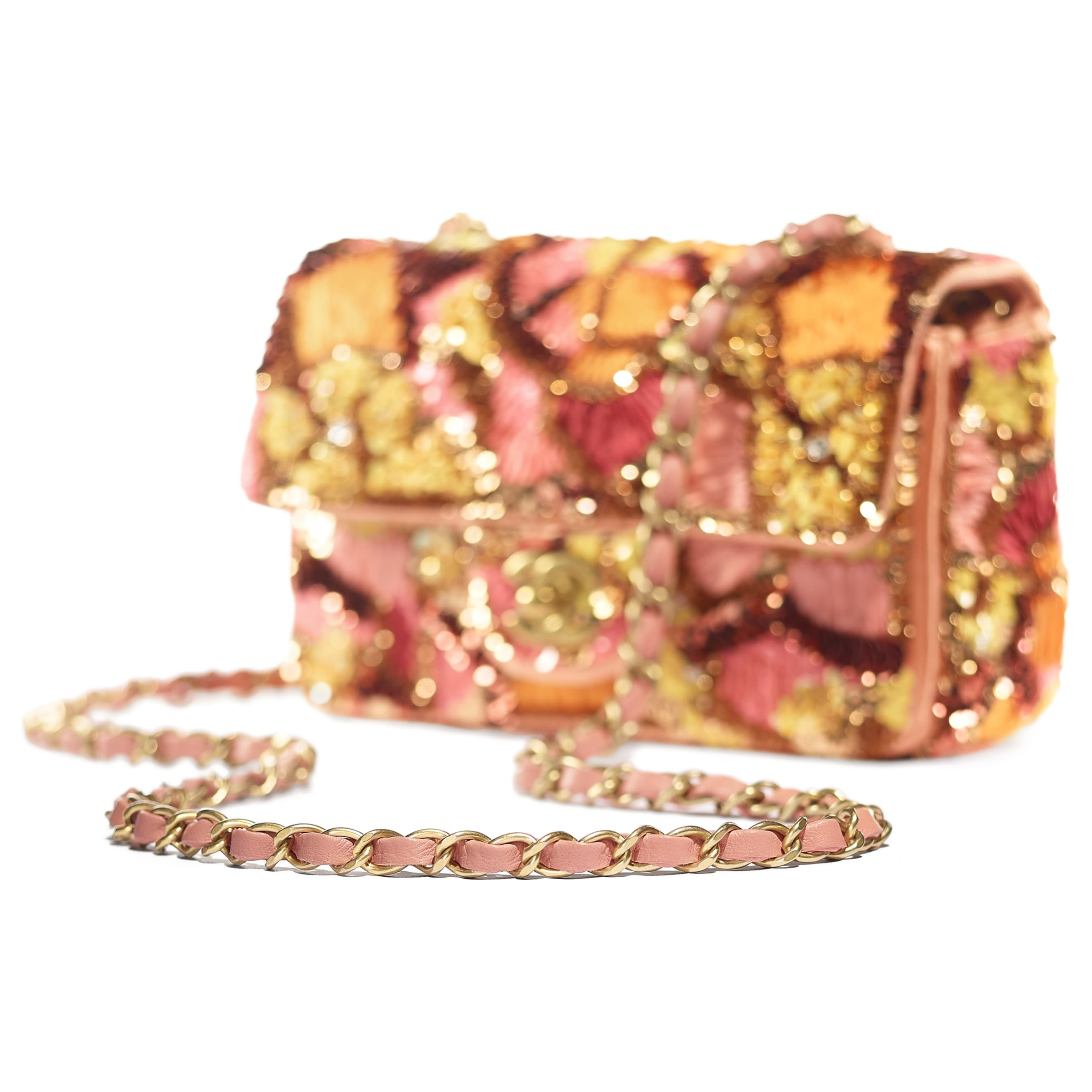 Mini Flap Bag - Pink, White, Yellow & Orange - Sequins, Mixed Fibers, Glass Pearls, Lambskin & Gold-Tone Metal - CHANEL - Extra view - see standard sized version