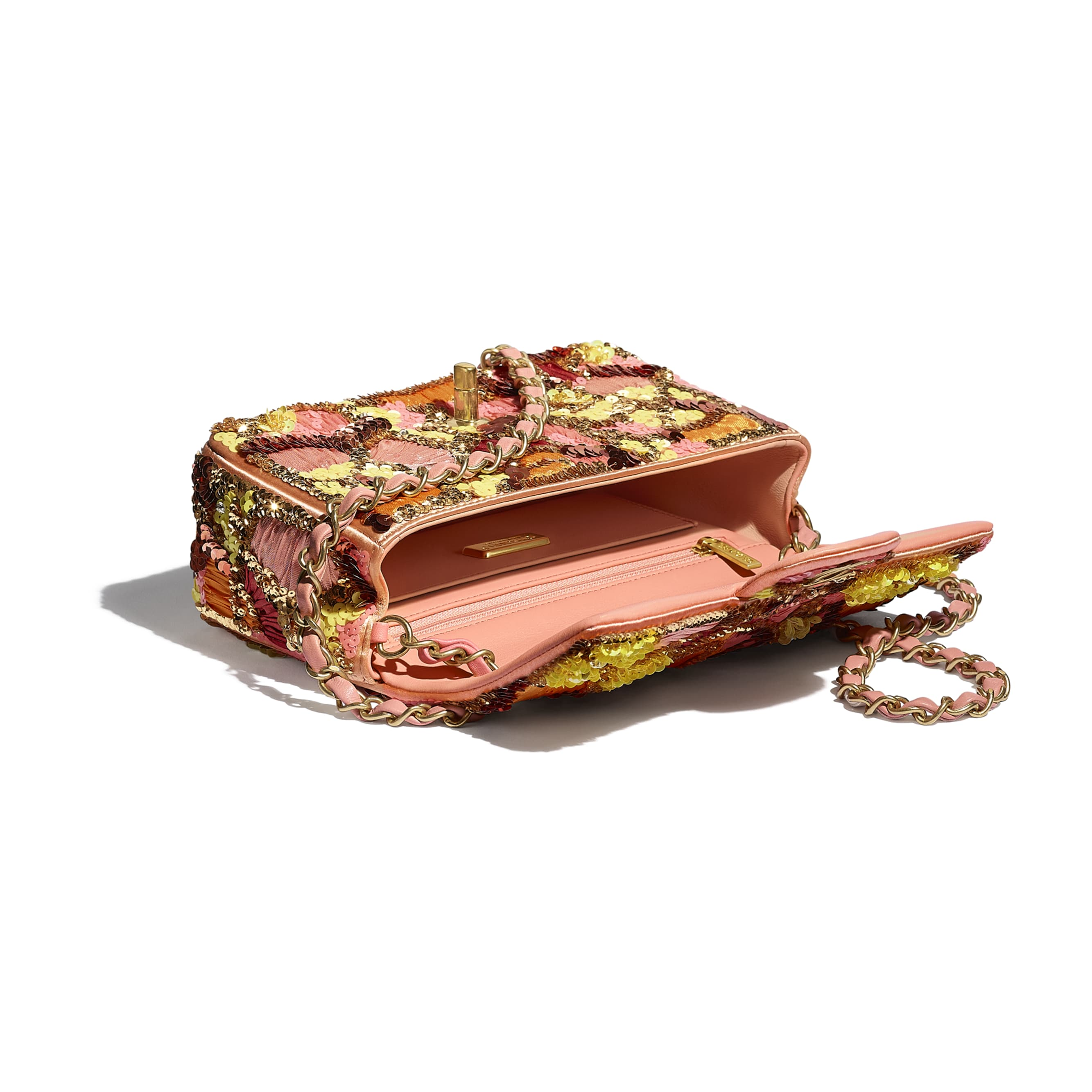 Mini Flap Bag - Pink, White, Yellow & Orange - Sequins, Mixed Fibers, Glass Pearls, Lambskin & Gold-Tone Metal - CHANEL - Other view - see standard sized version