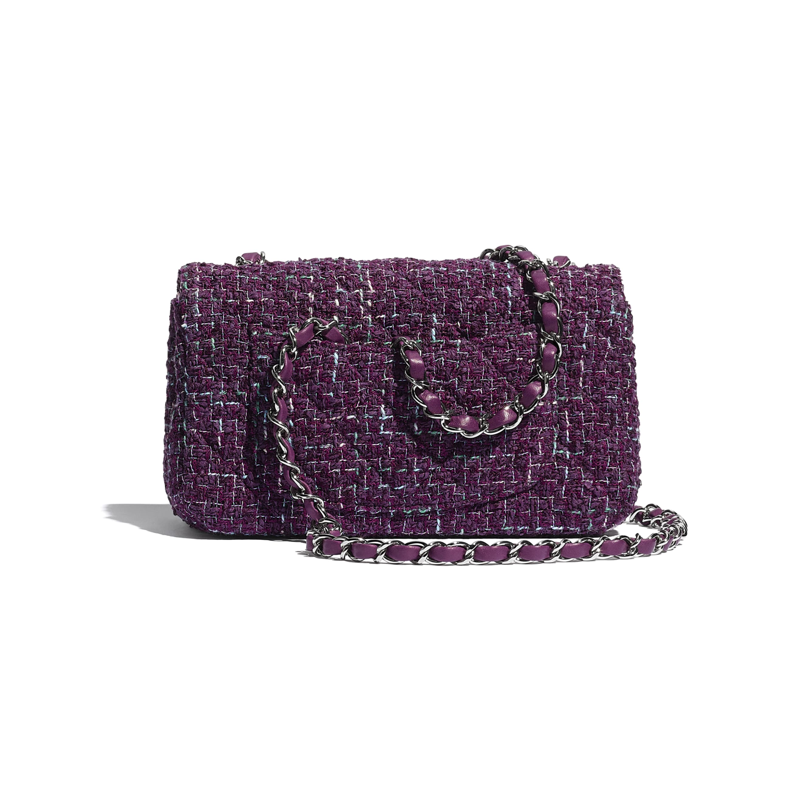 Mini Flap Bag - Purple, Green & Turquoise - Tweed & Silver-Tone Metal - CHANEL - Alternative view - see standard sized version