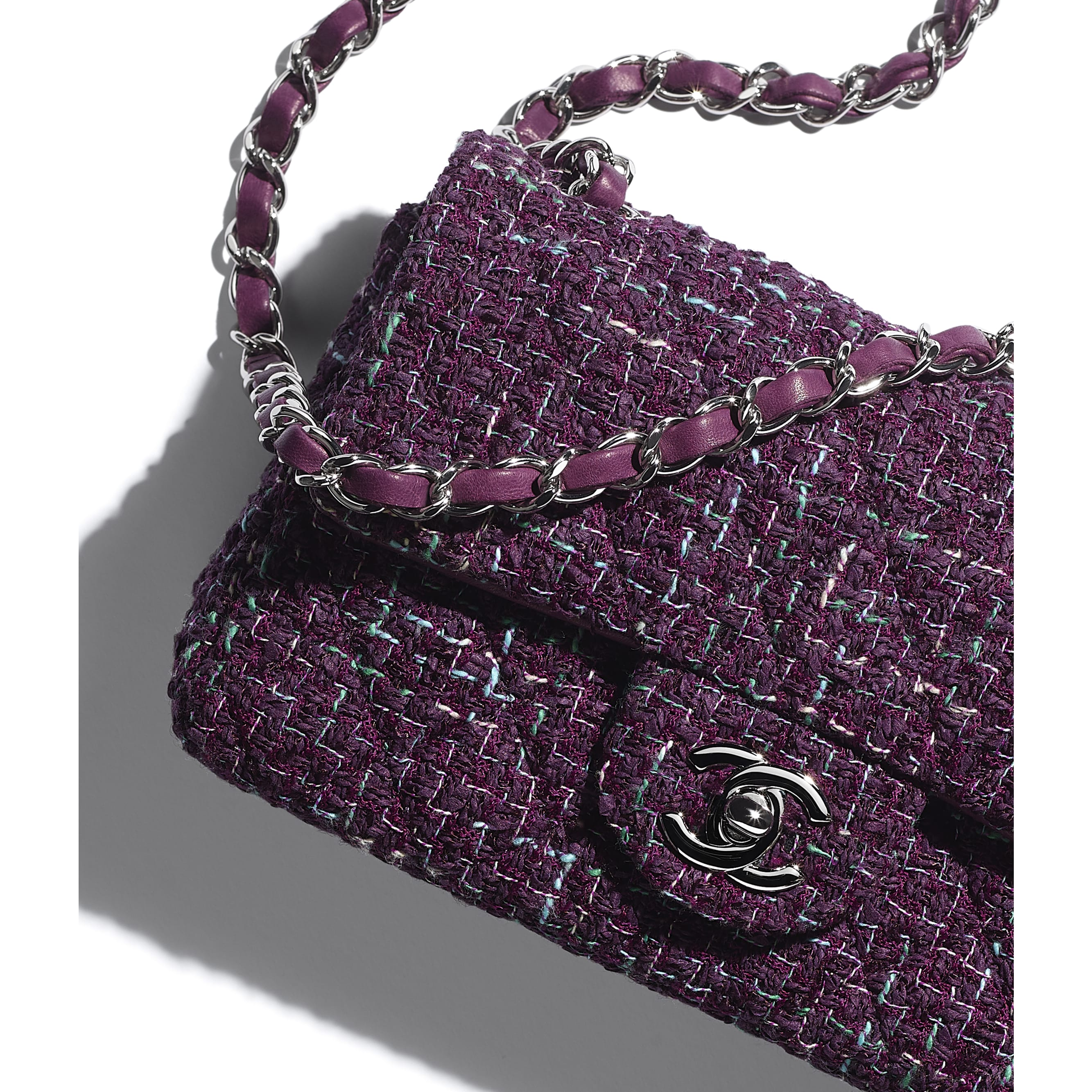 Mini Flap Bag - Purple, Green & Turquoise - Tweed & Silver-Tone Metal - CHANEL - Extra view - see standard sized version