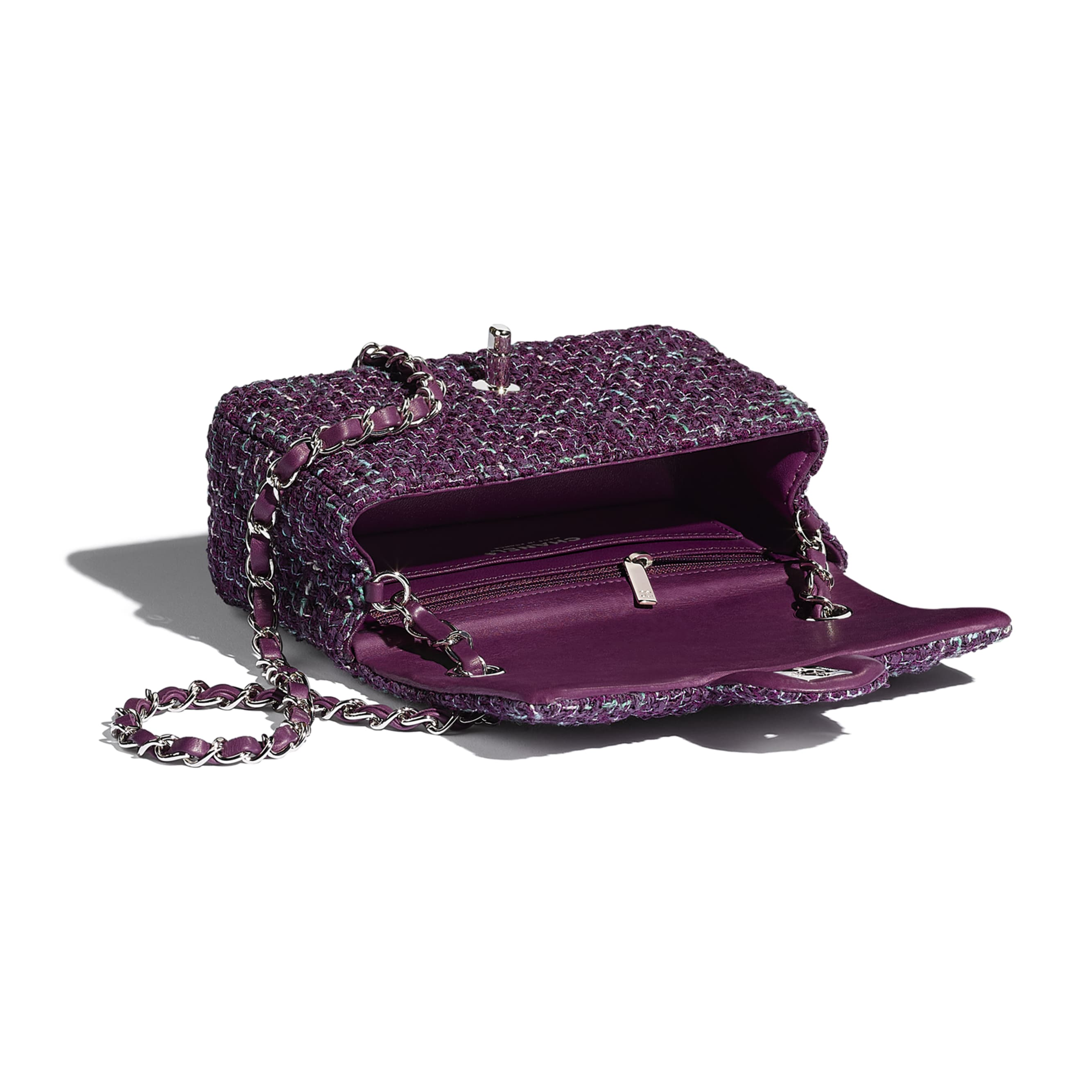Mini Flap Bag - Purple, Green & Turquoise - Tweed & Silver-Tone Metal - CHANEL - Other view - see standard sized version