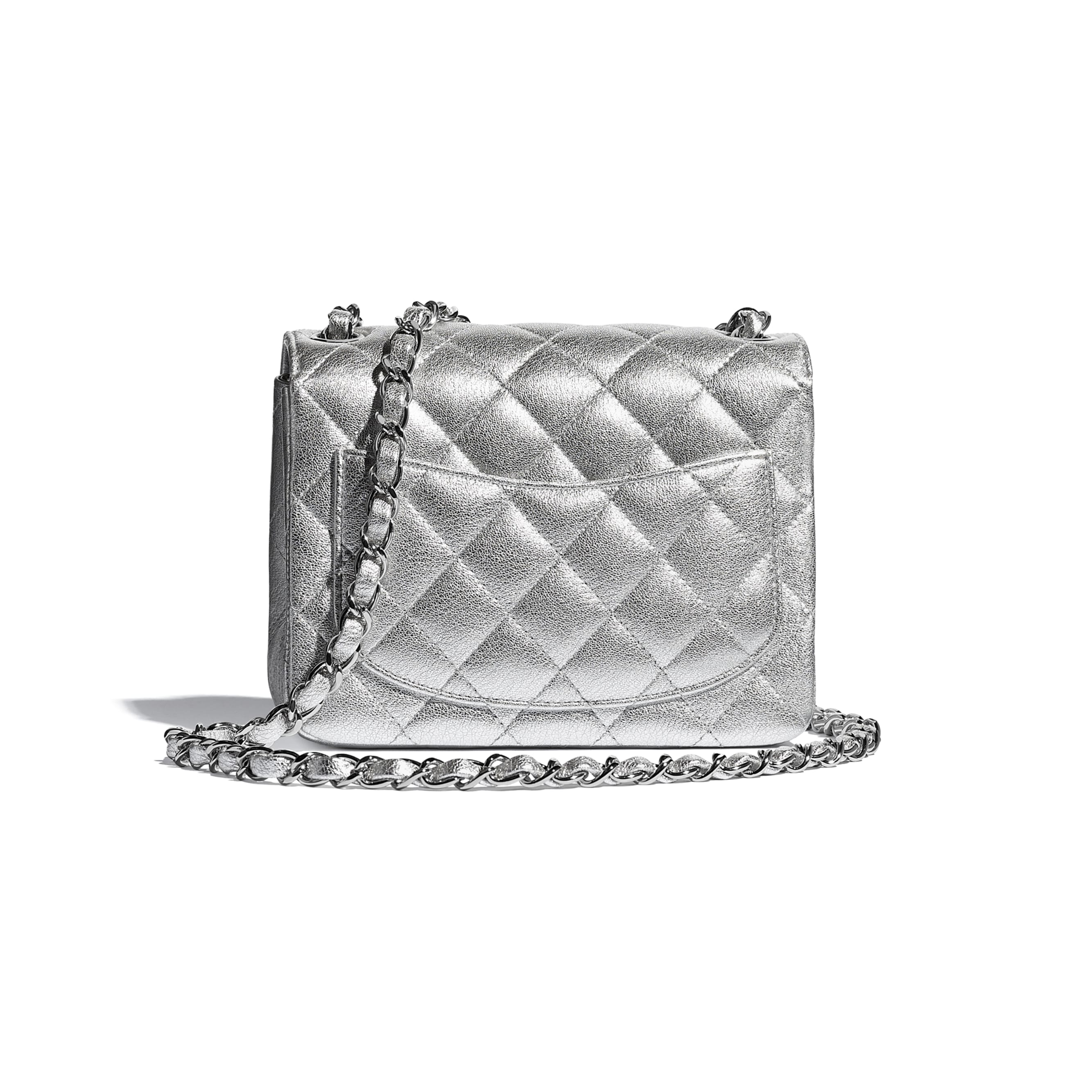 Mini Flap Bag - Silver - Metallic Lambskin & Silver Metal - CHANEL - Alternative view - see standard sized version