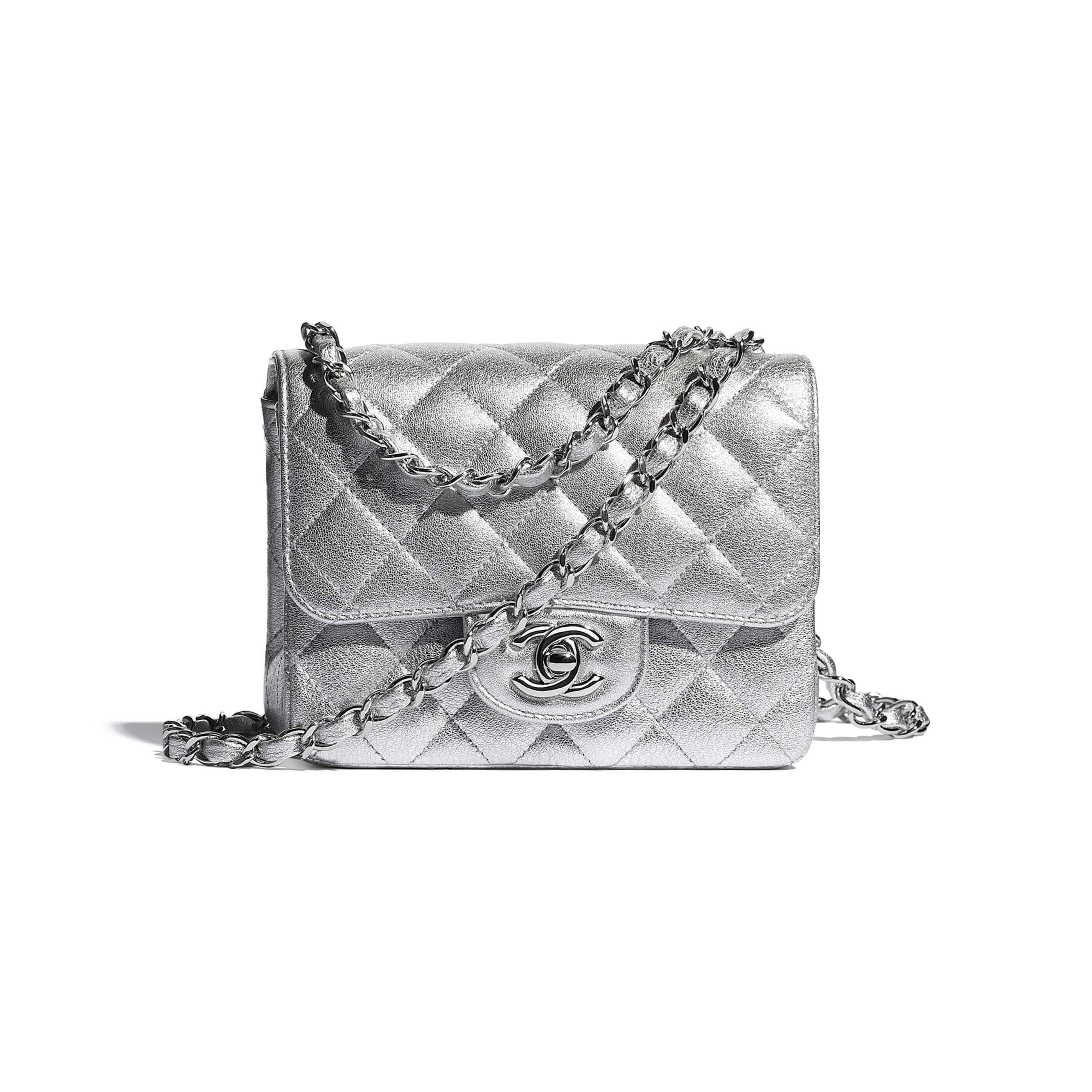 Mini Flap Bag - Silver - Metallic Lambskin & Silver Metal - CHANEL - Default view - see standard sized version