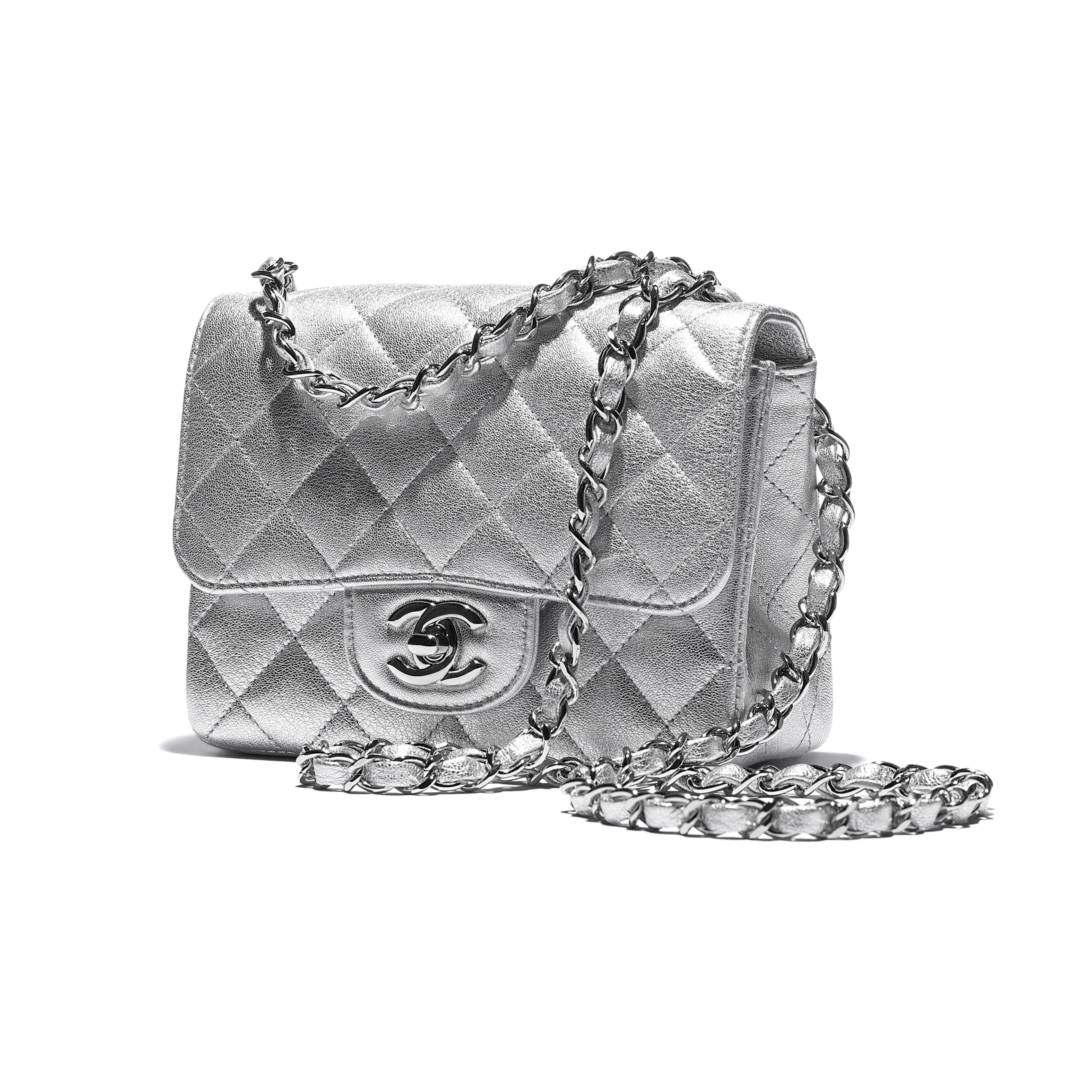 Mini Flap Bag - Silver - Metallic Lambskin & Silver Metal - CHANEL - Extra view - see standard sized version