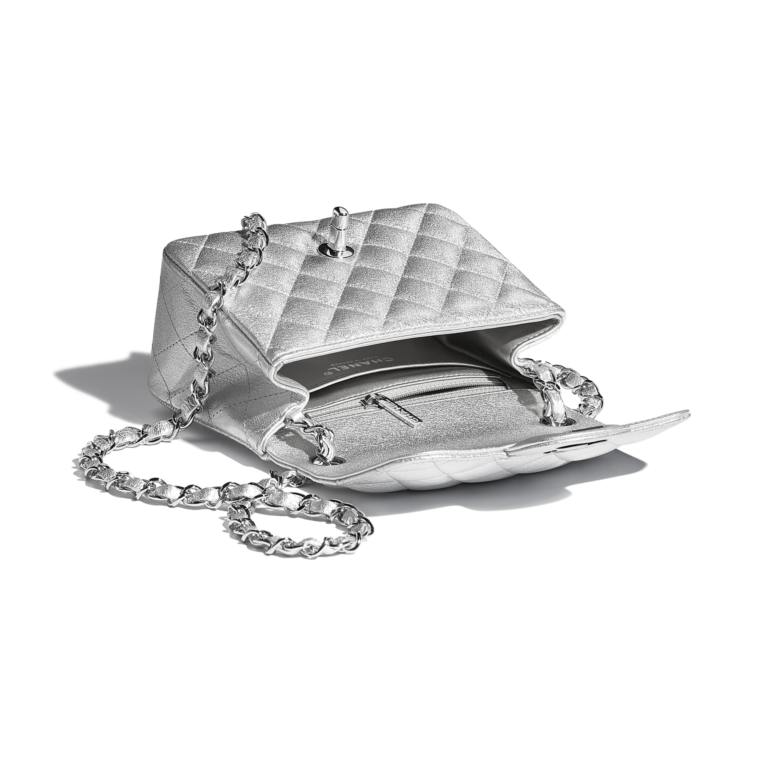 Mini Flap Bag - Silver - Metallic Lambskin & Silver Metal - CHANEL - Other view - see standard sized version