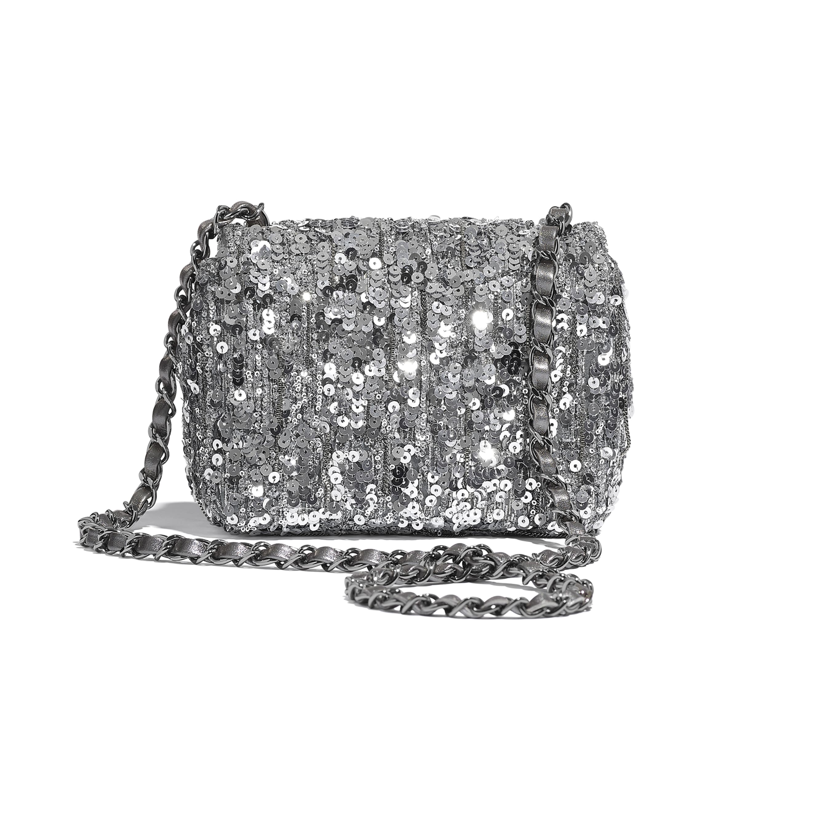 Mini Flap Bag - Silver - Sequins & Ruthenium-Finish Metal - CHANEL - Alternative view - see standard sized version