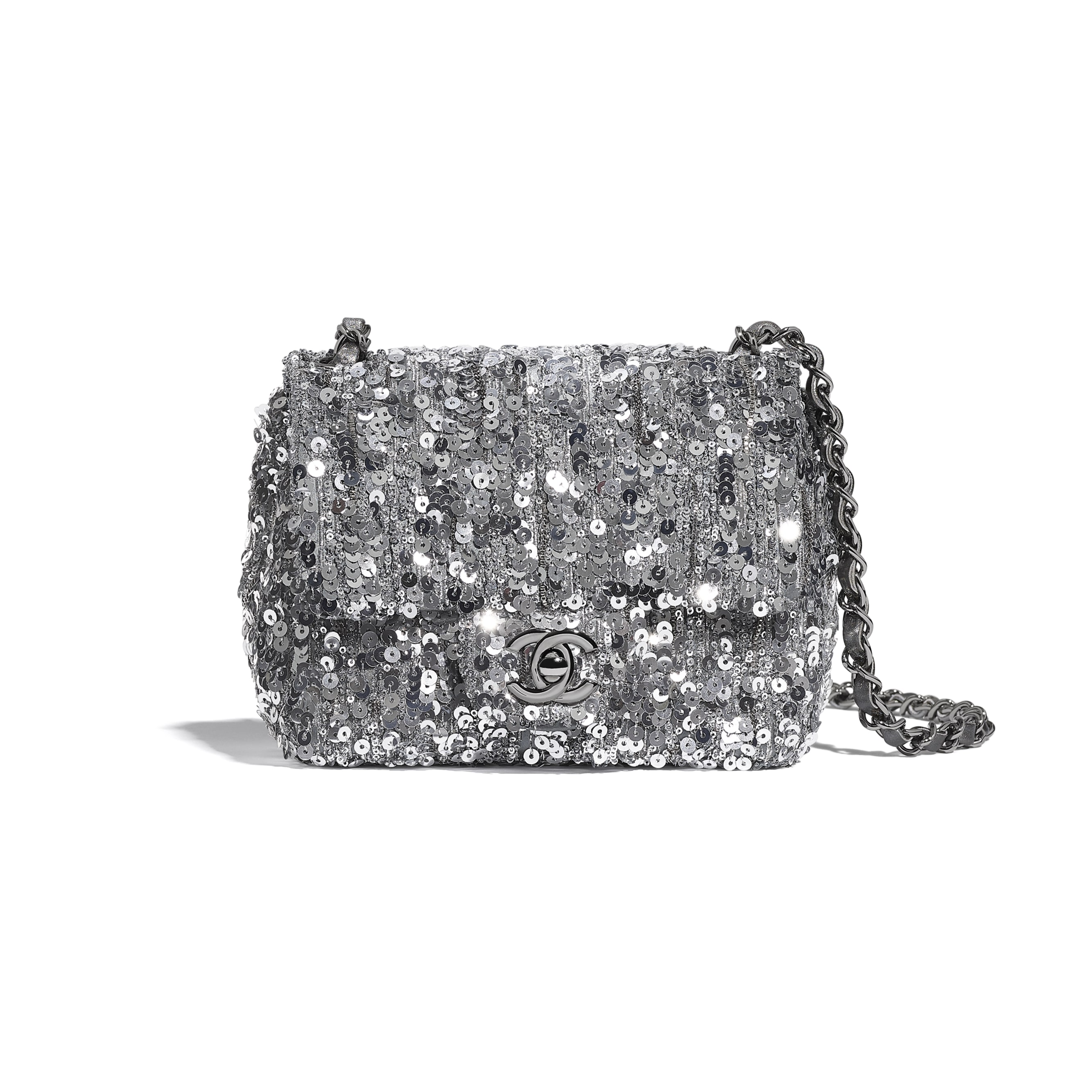 Mini Flap Bag - Silver - Sequins & Ruthenium-Finish Metal - CHANEL - Default view - see standard sized version