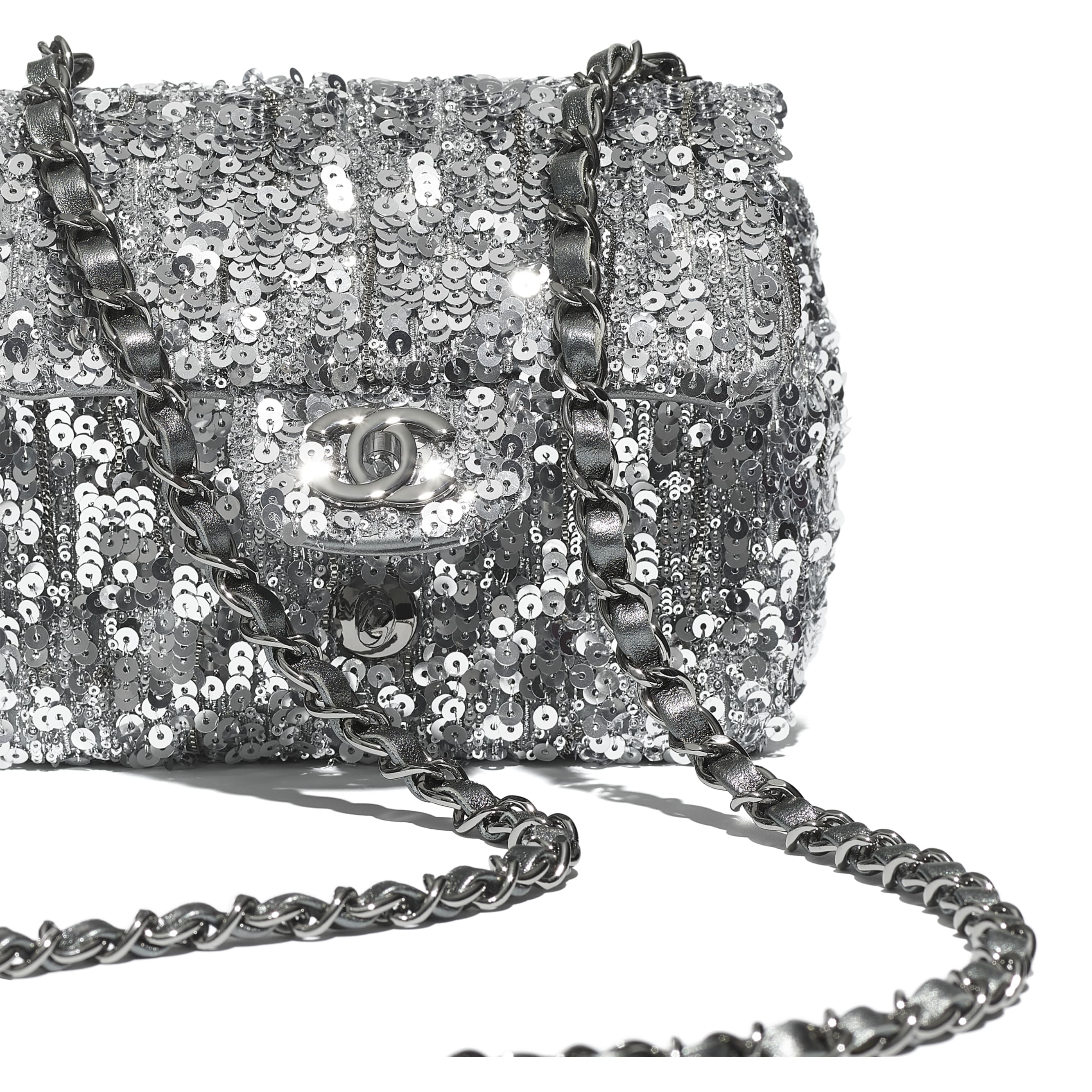 Mini Flap Bag - Silver - Sequins & Ruthenium-Finish Metal - CHANEL - Extra view - see standard sized version
