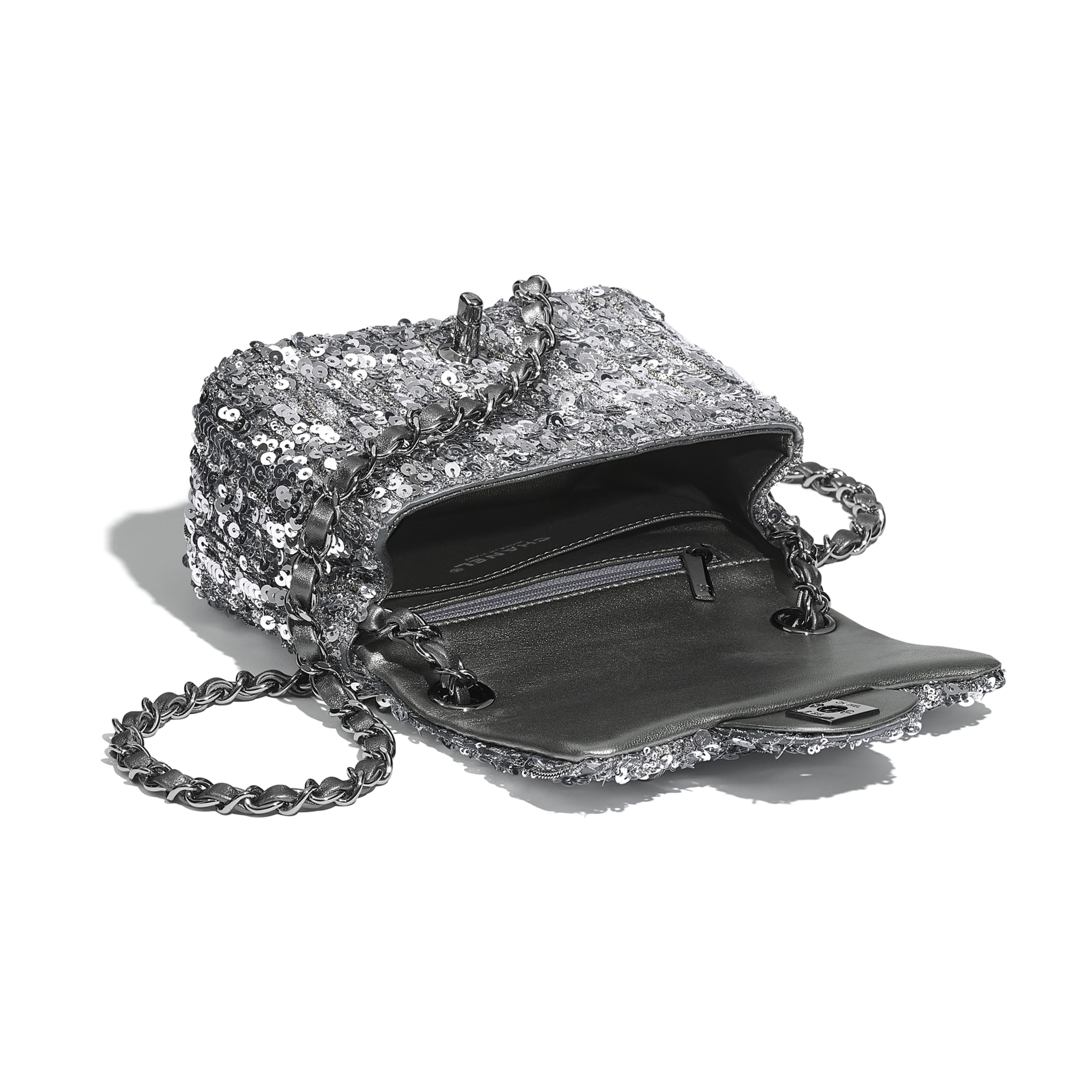 Mini Flap Bag - Silver - Sequins & Ruthenium-Finish Metal - CHANEL - Other view - see standard sized version