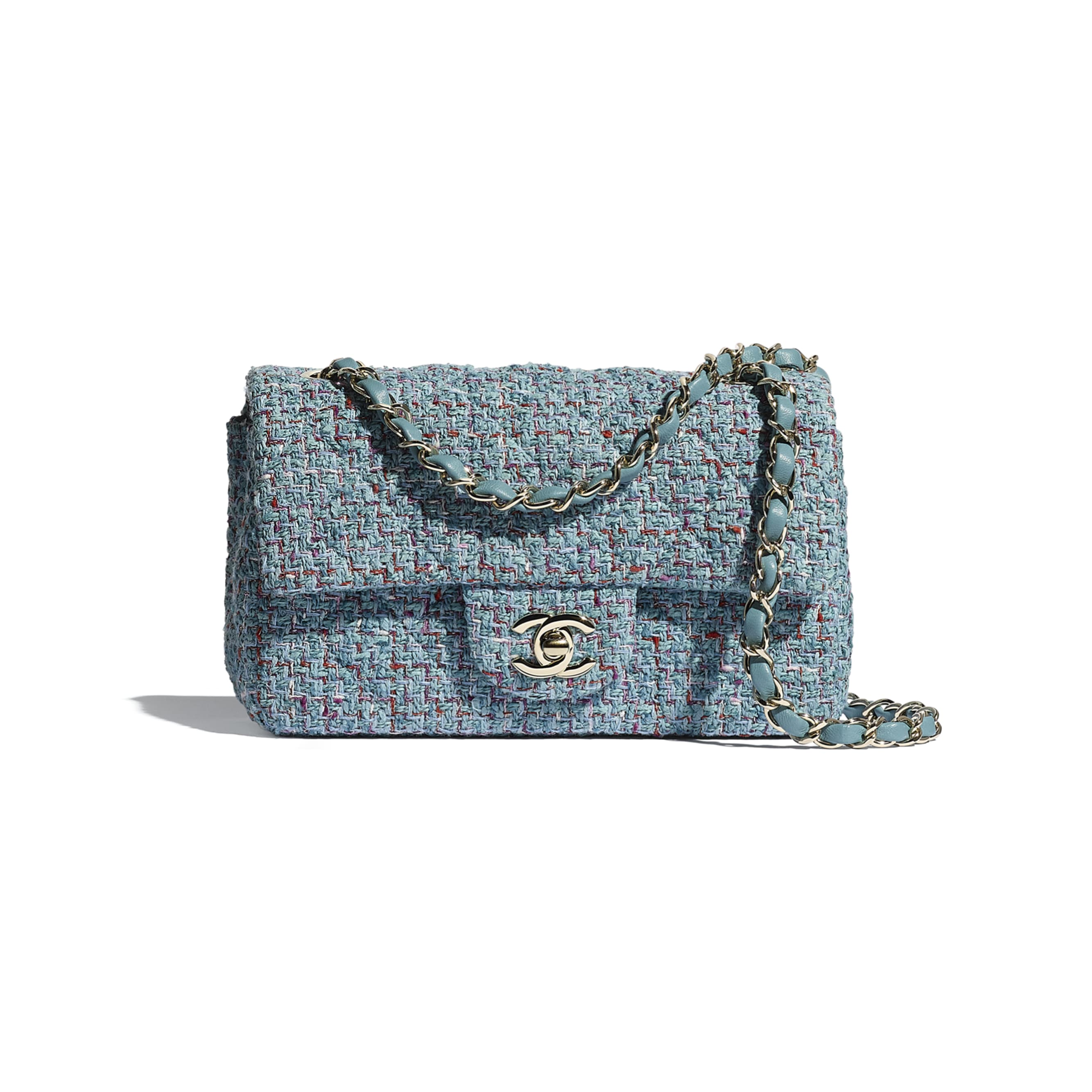 Mini Flap Bag - Turquoise, Purple, White & Red - Tweed & Gold Metal - CHANEL - Default view - see standard sized version