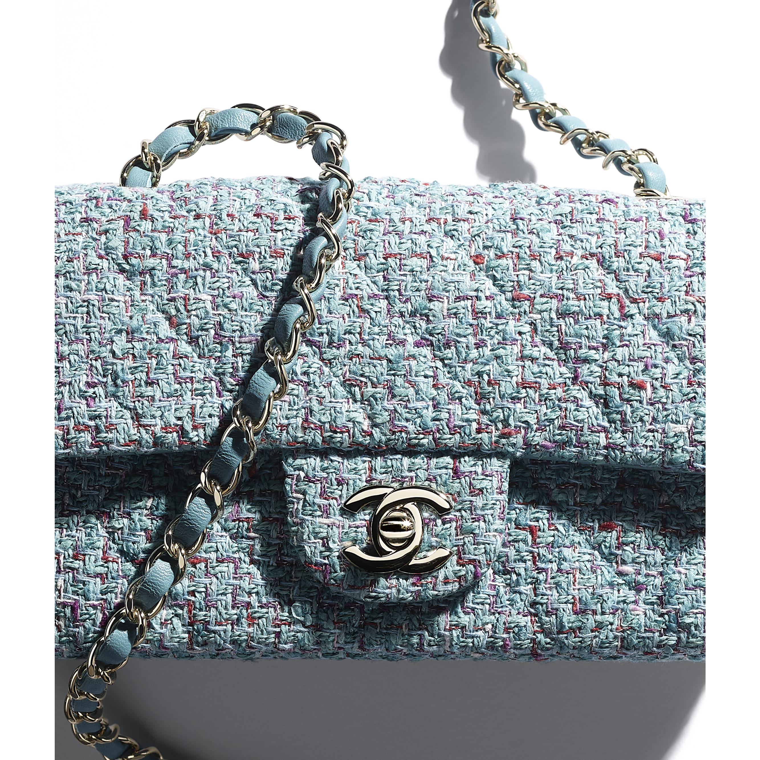 Mini Flap Bag - Turquoise, Purple, White & Red - Tweed & Gold Metal - CHANEL - Extra view - see standard sized version
