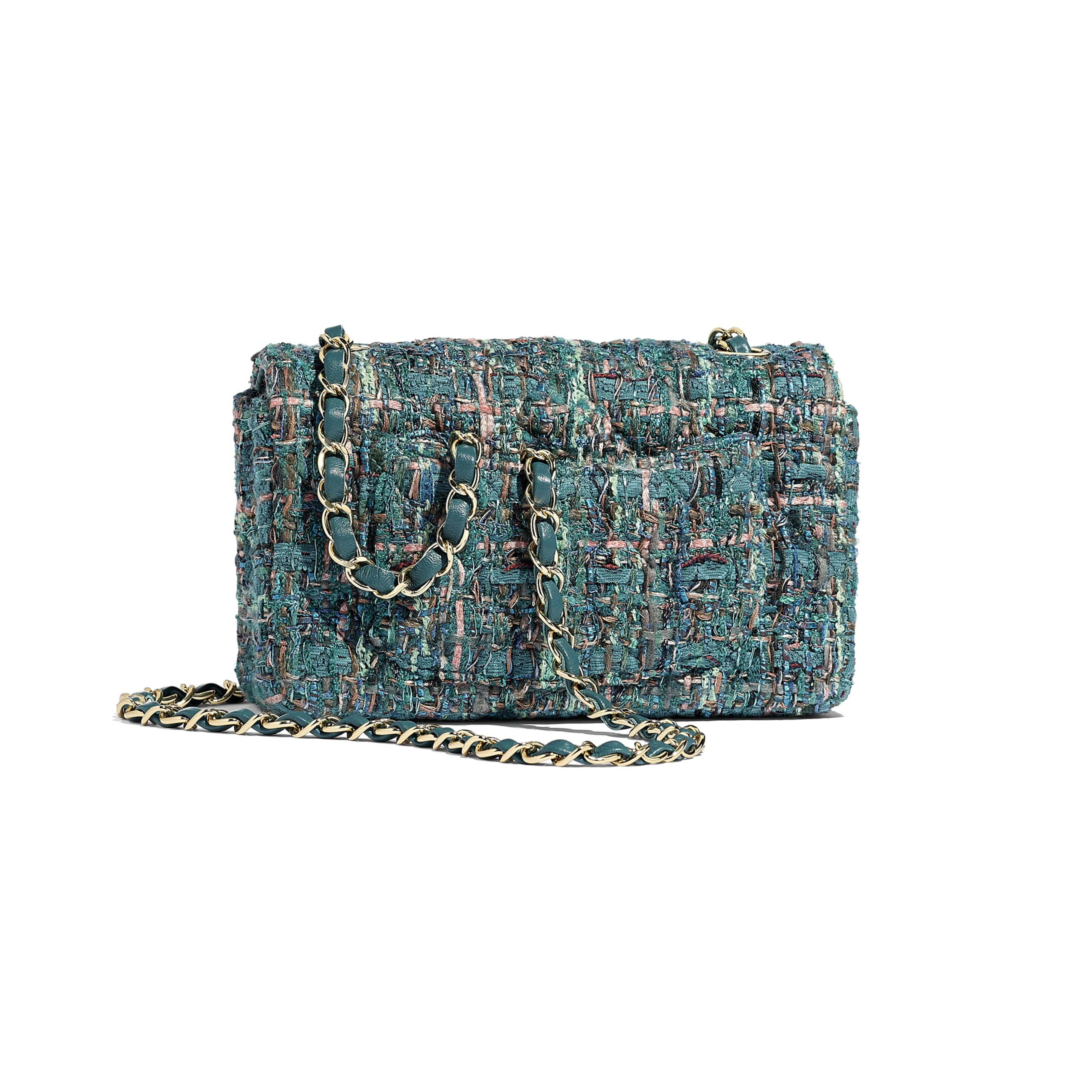 Mini Flap Bag - Turquoise - Tweed & Gold-Tone Metal - Alternative view - see standard sized version