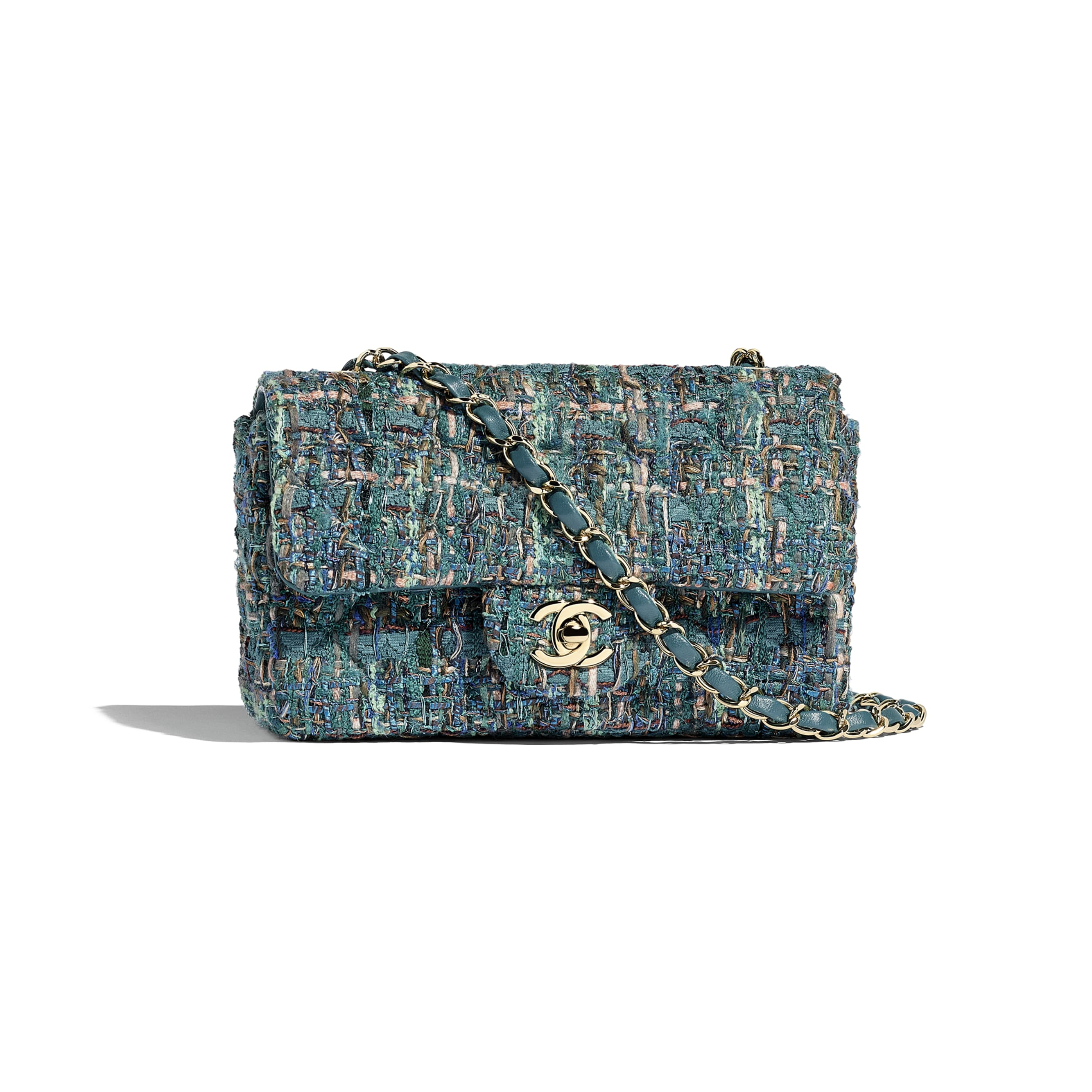 Mini Flap Bag - Turquoise - Tweed & Gold-Tone Metal - Default view - see standard sized version