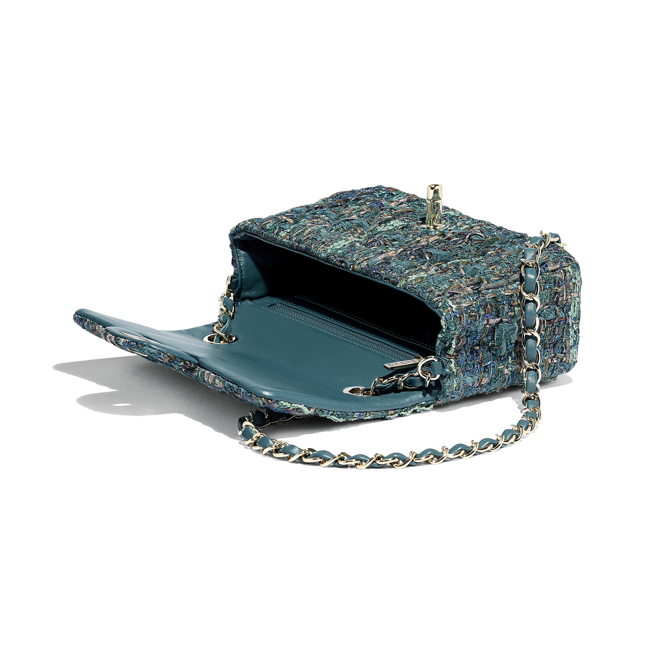 Mini Flap Bag - Turquoise - Tweed & Gold-Tone Metal - Other view - see standard sized version