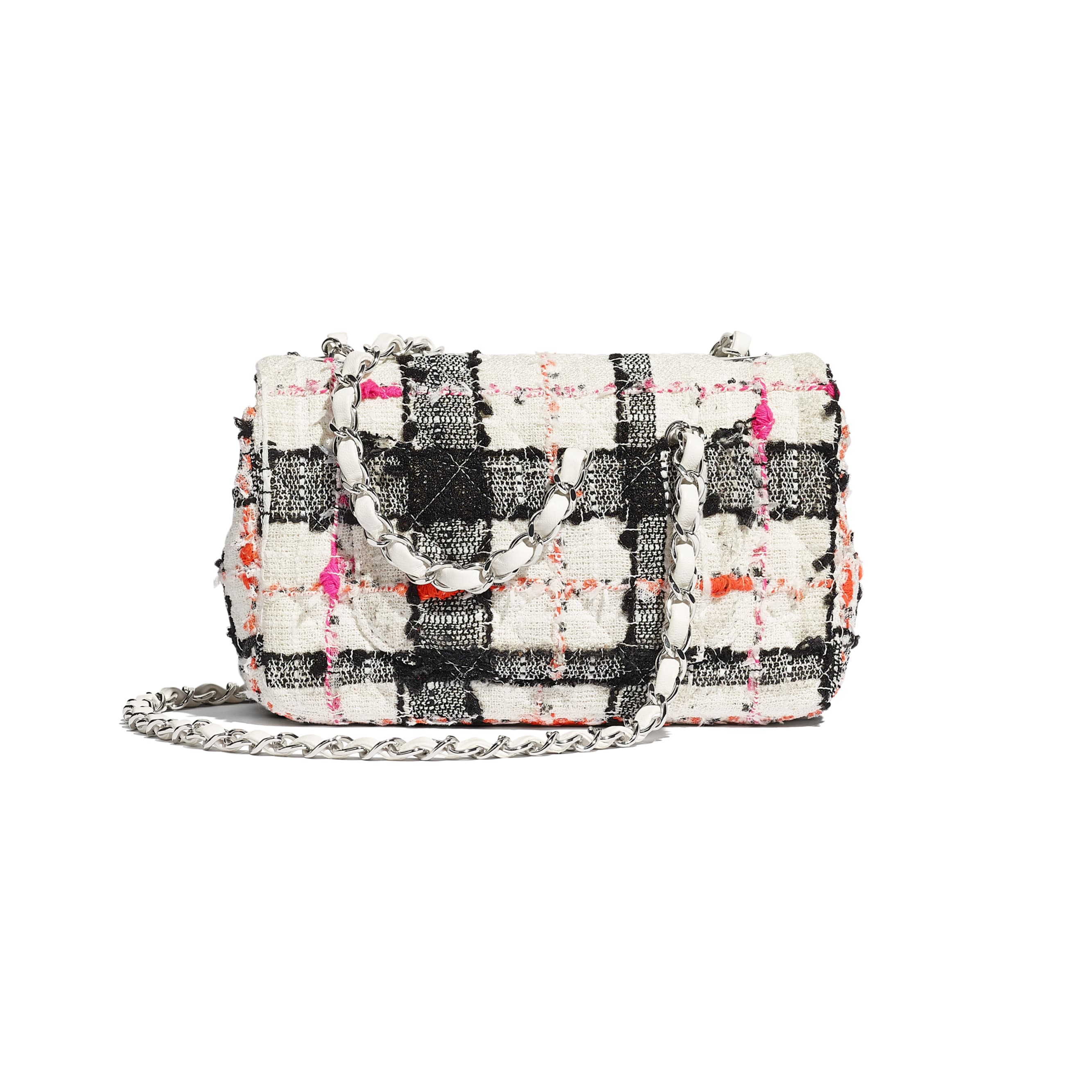 Mini Flap Bag - White, Black, Pink & Orange - Tweed & Silver-Tone Metal - Alternative view - see standard sized version