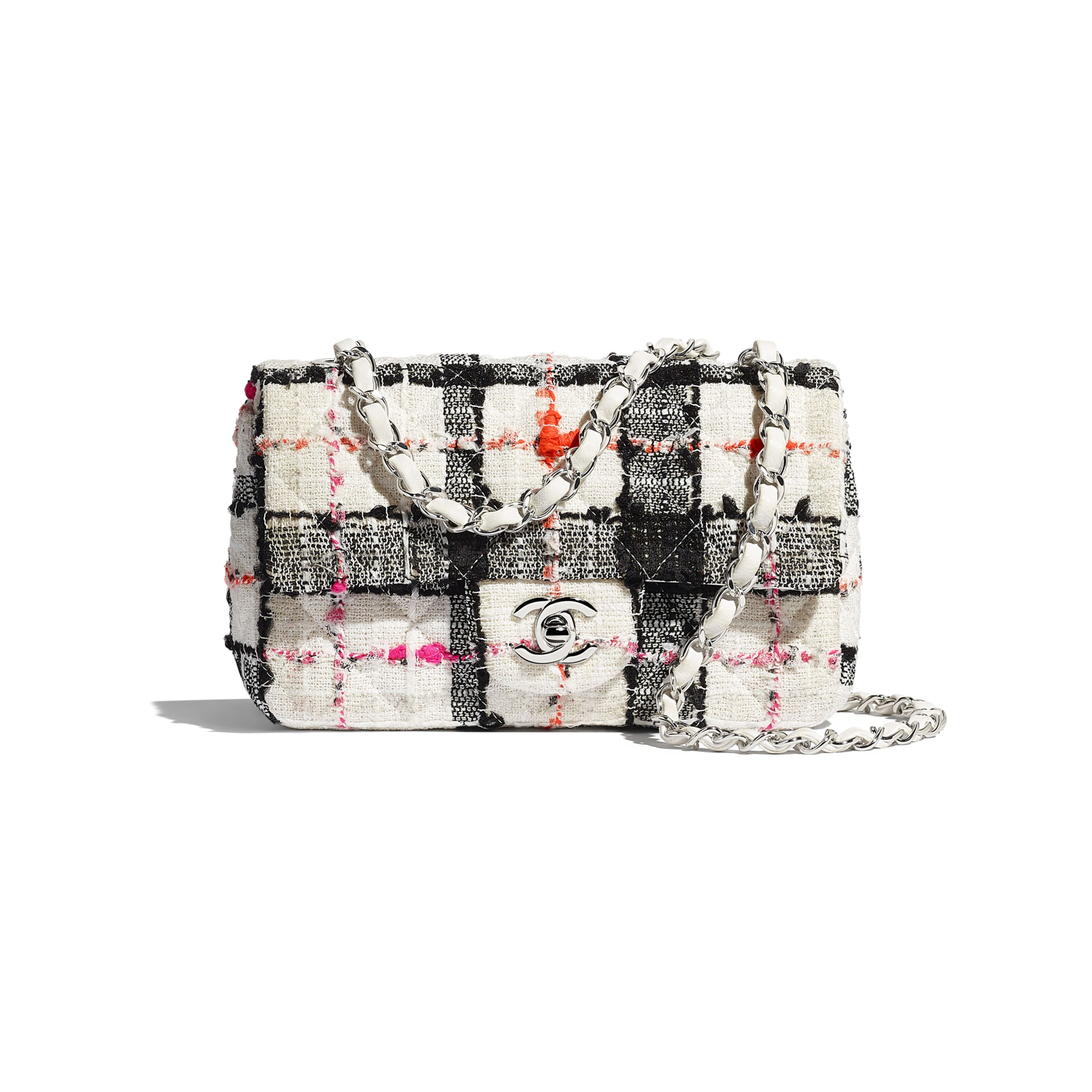 Mini Flap Bag - White, Black, Pink & Orange - Tweed & Silver-Tone Metal - Default view - see standard sized version