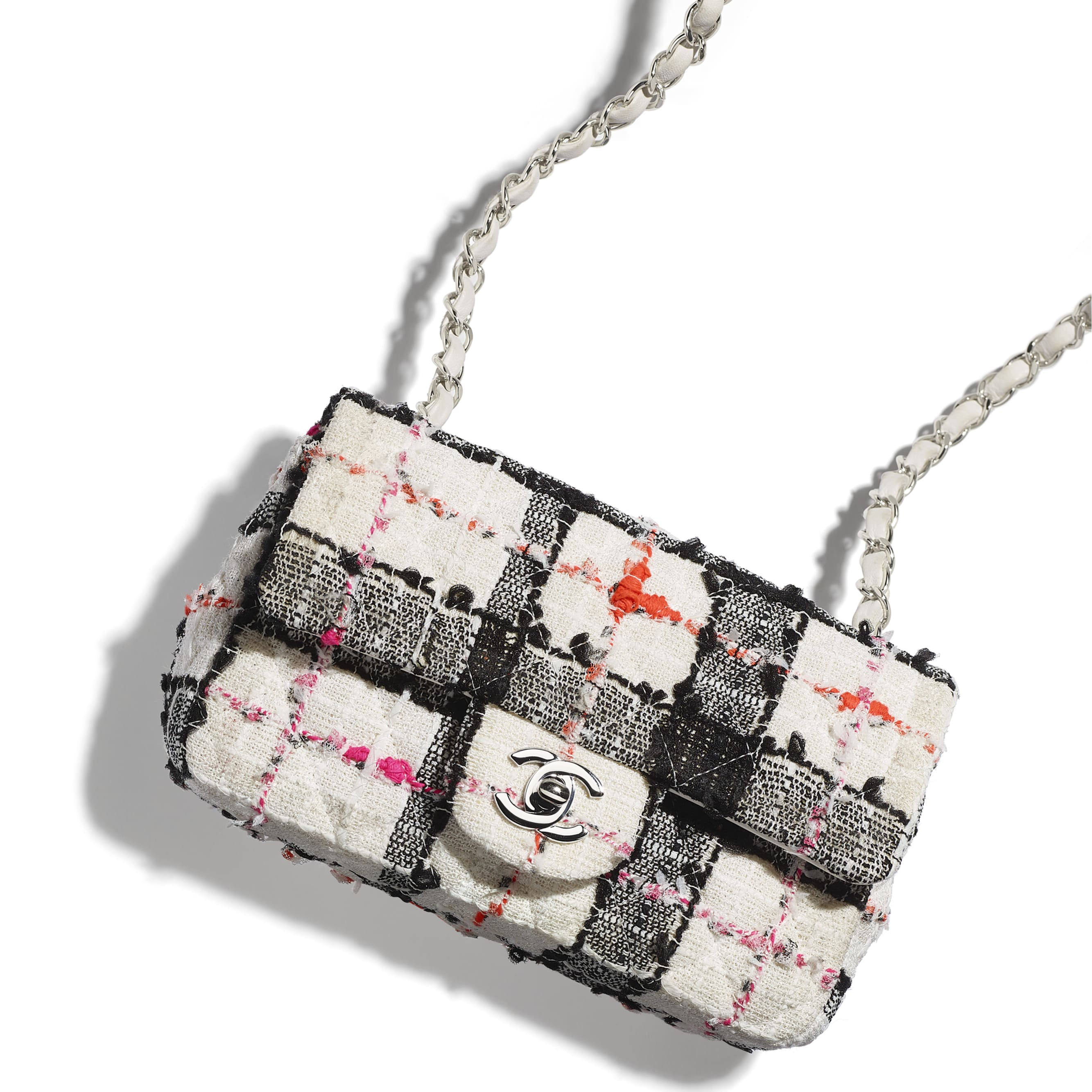 Mini Flap Bag - White, Black, Pink & Orange - Tweed & Silver-Tone Metal - Extra view - see standard sized version