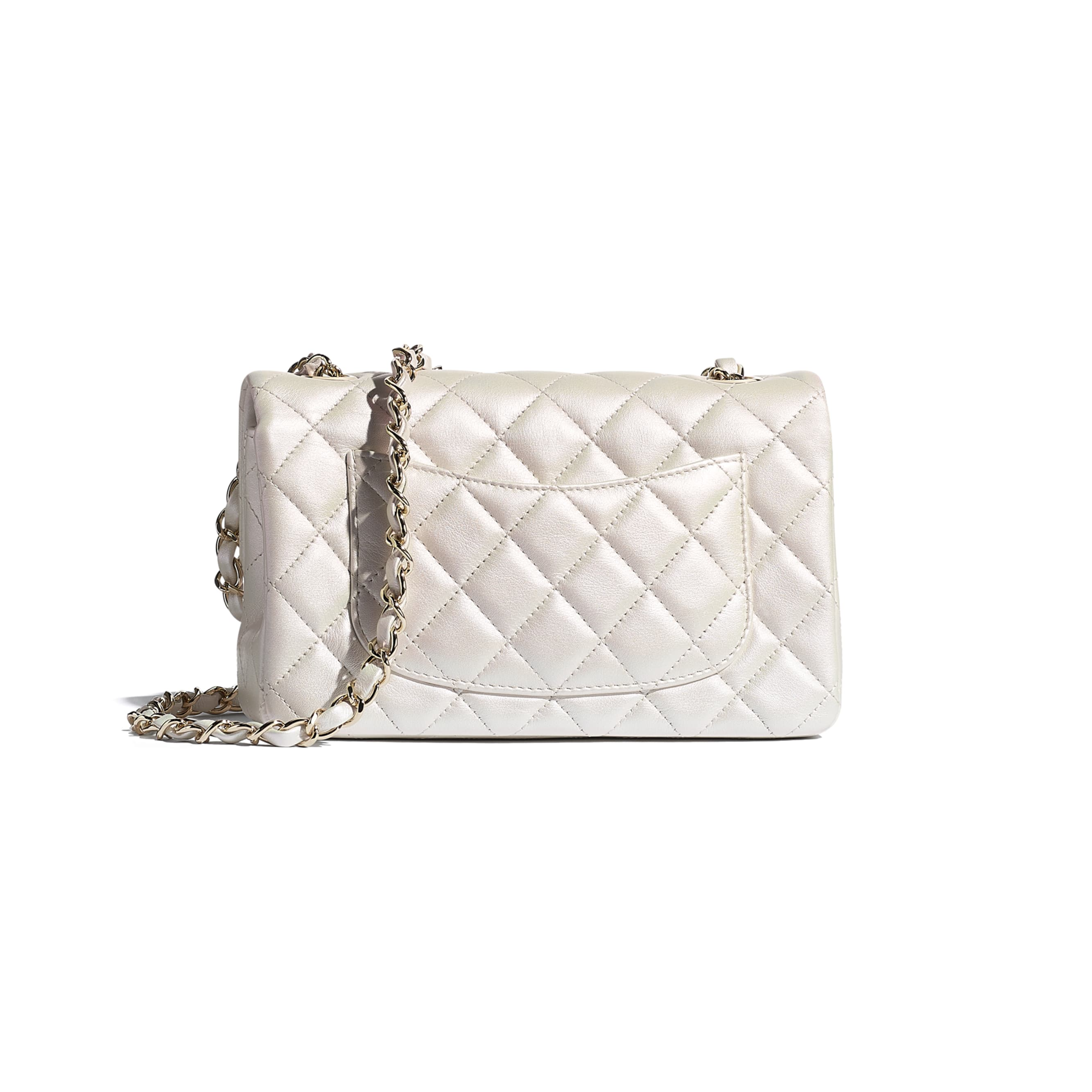 Mini Flap Bag - White - Iridescent Calfskin & Gold-Tone Metal - CHANEL - Alternative view - see standard sized version