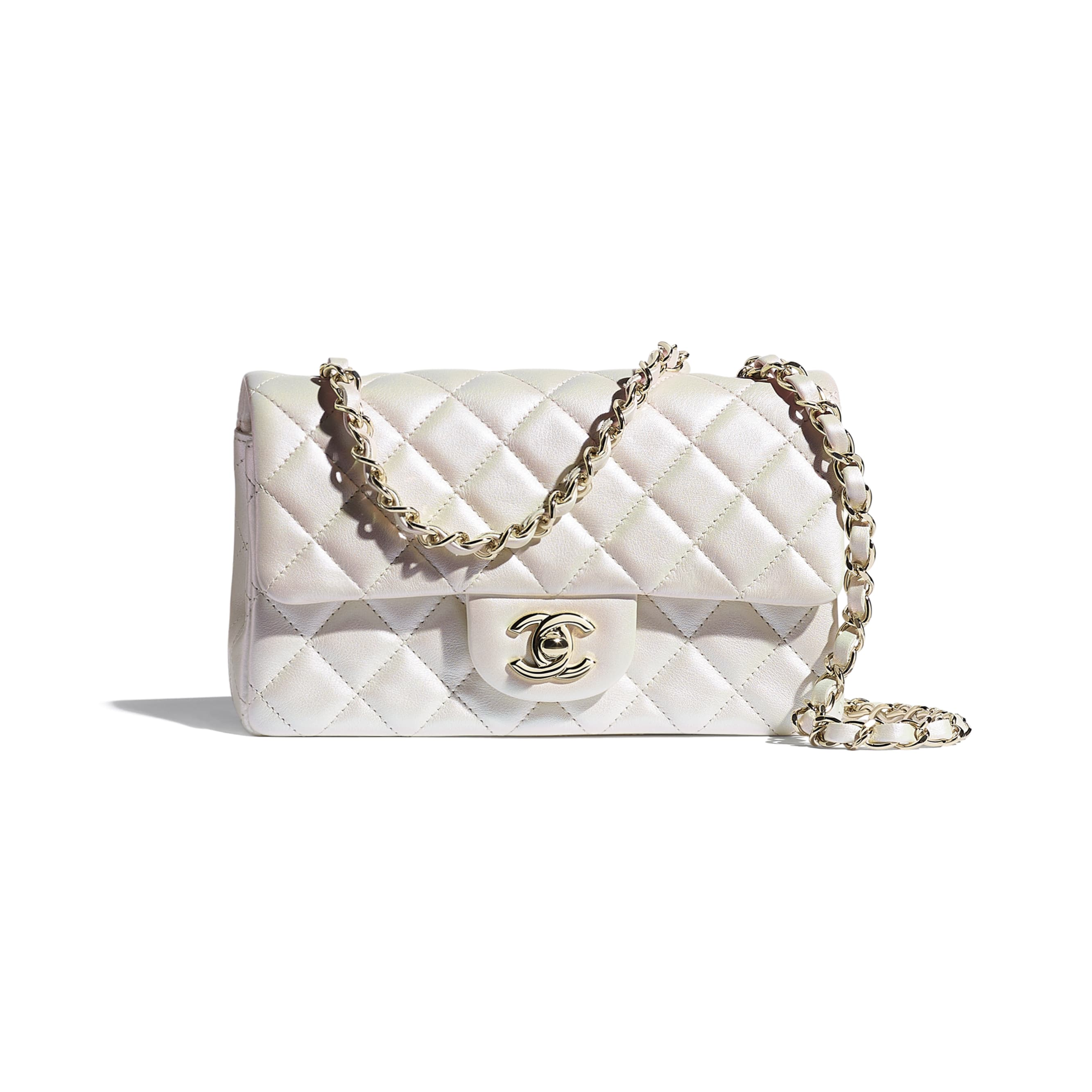 Mini Flap Bag - White - Iridescent Calfskin & Gold-Tone Metal - CHANEL - Default view - see standard sized version