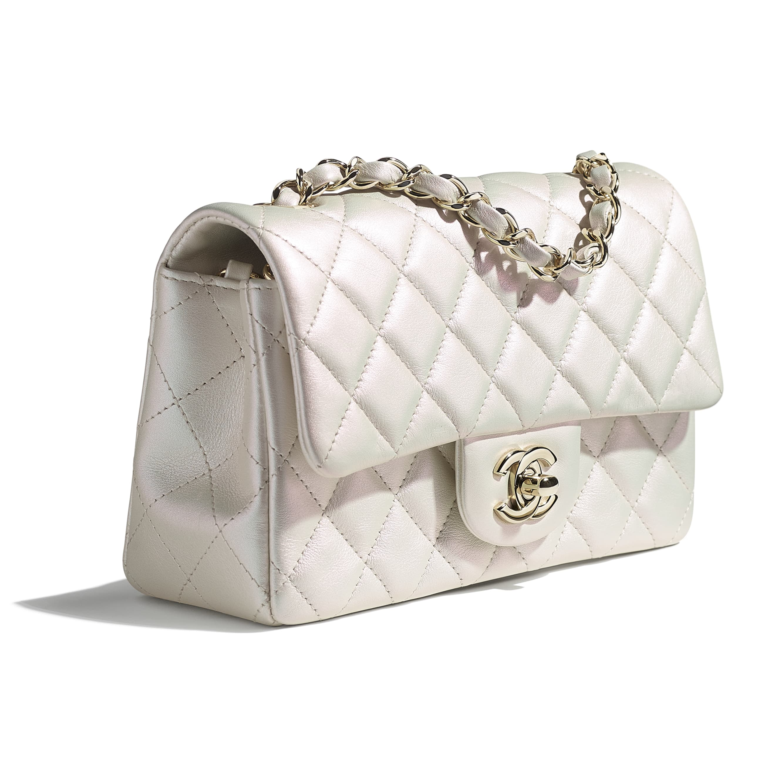 Mini Flap Bag - White - Iridescent Calfskin & Gold-Tone Metal - CHANEL - Extra view - see standard sized version