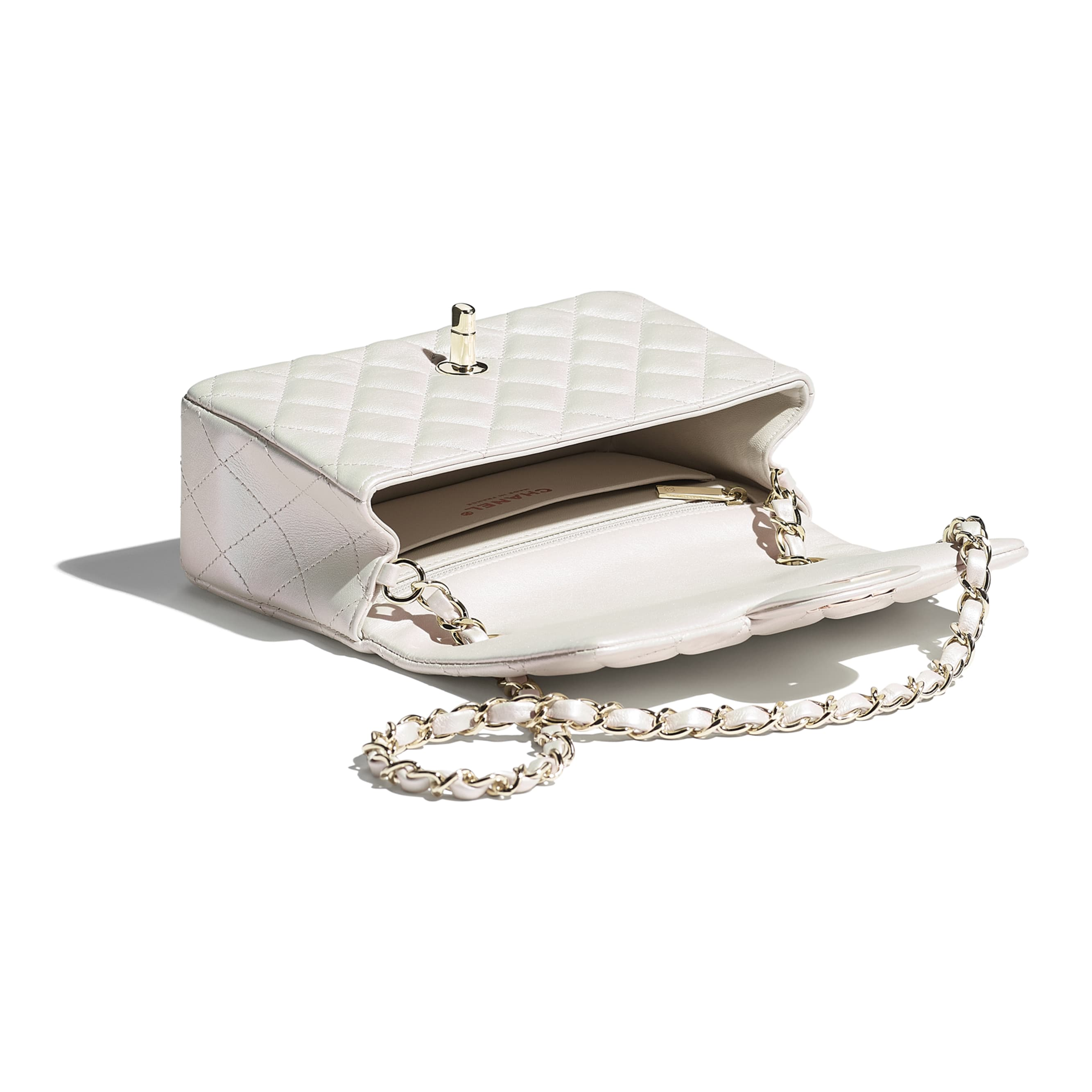 Mini Flap Bag - White - Iridescent Calfskin & Gold-Tone Metal - CHANEL - Other view - see standard sized version