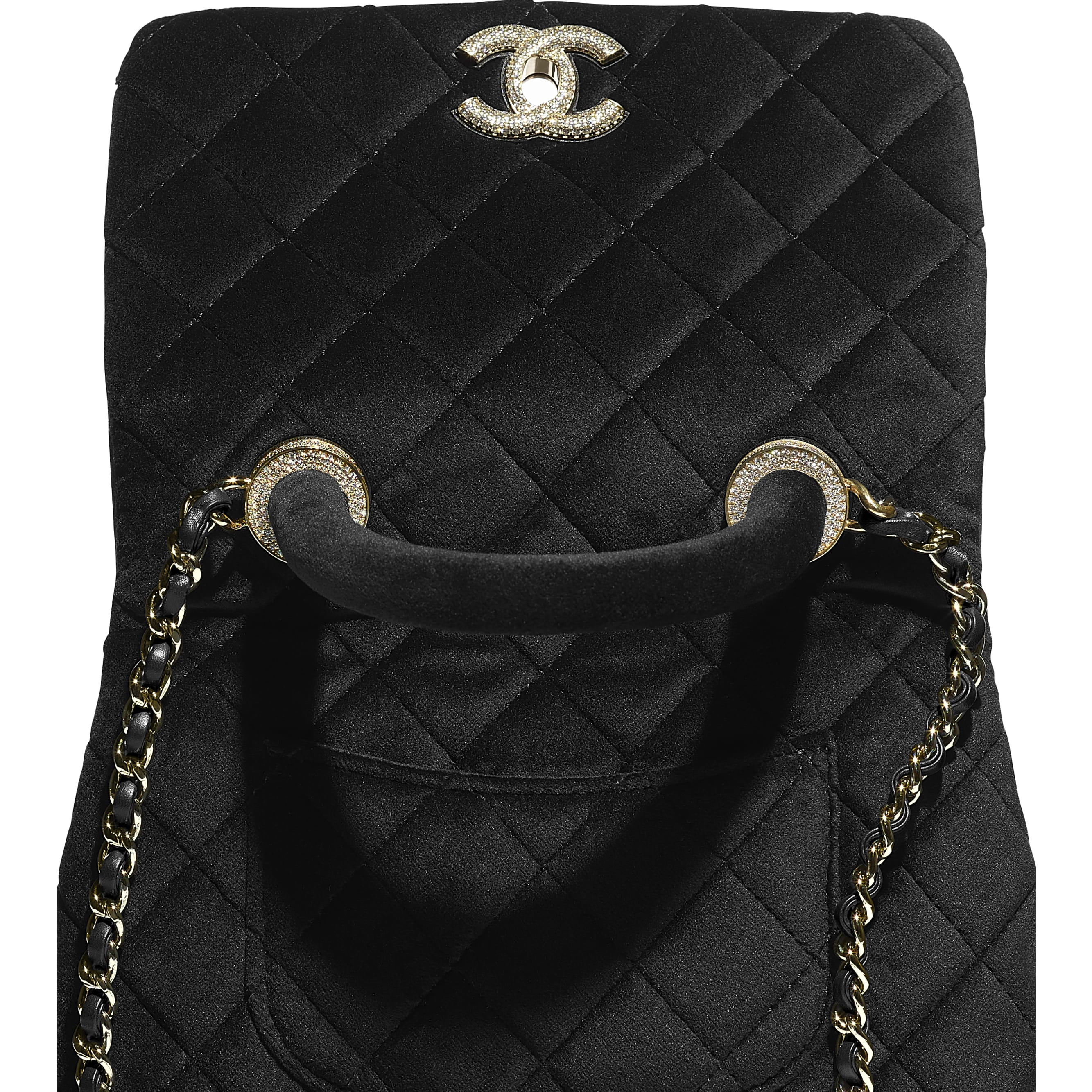 Mini Flap Bag with Handle - Black - Velvet, Diamanté & Gold-Tone Metal - CHANEL - Extra view - see standard sized version