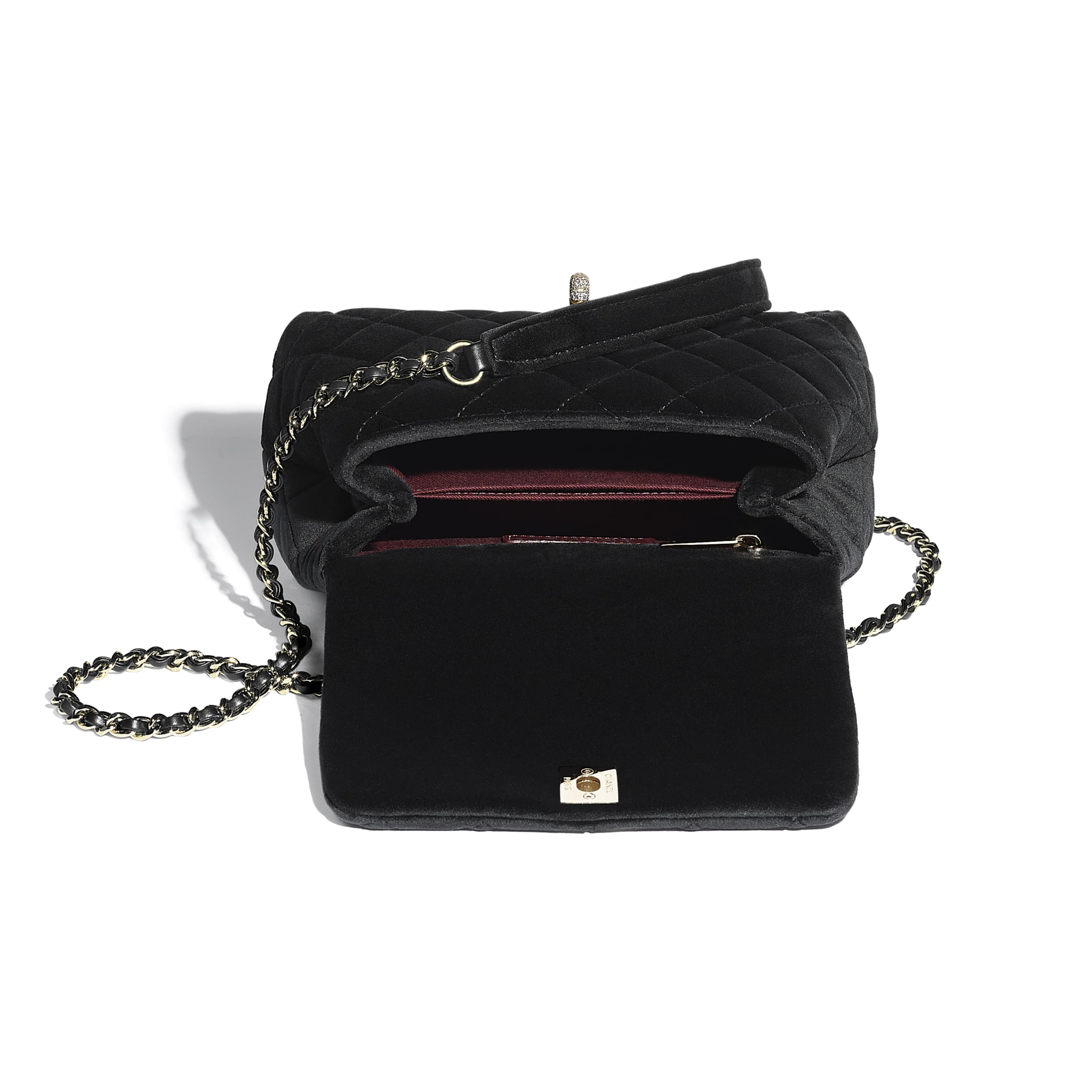 Mini Flap Bag with Handle - Black - Velvet, Diamanté & Gold-Tone Metal - CHANEL - Other view - see standard sized version