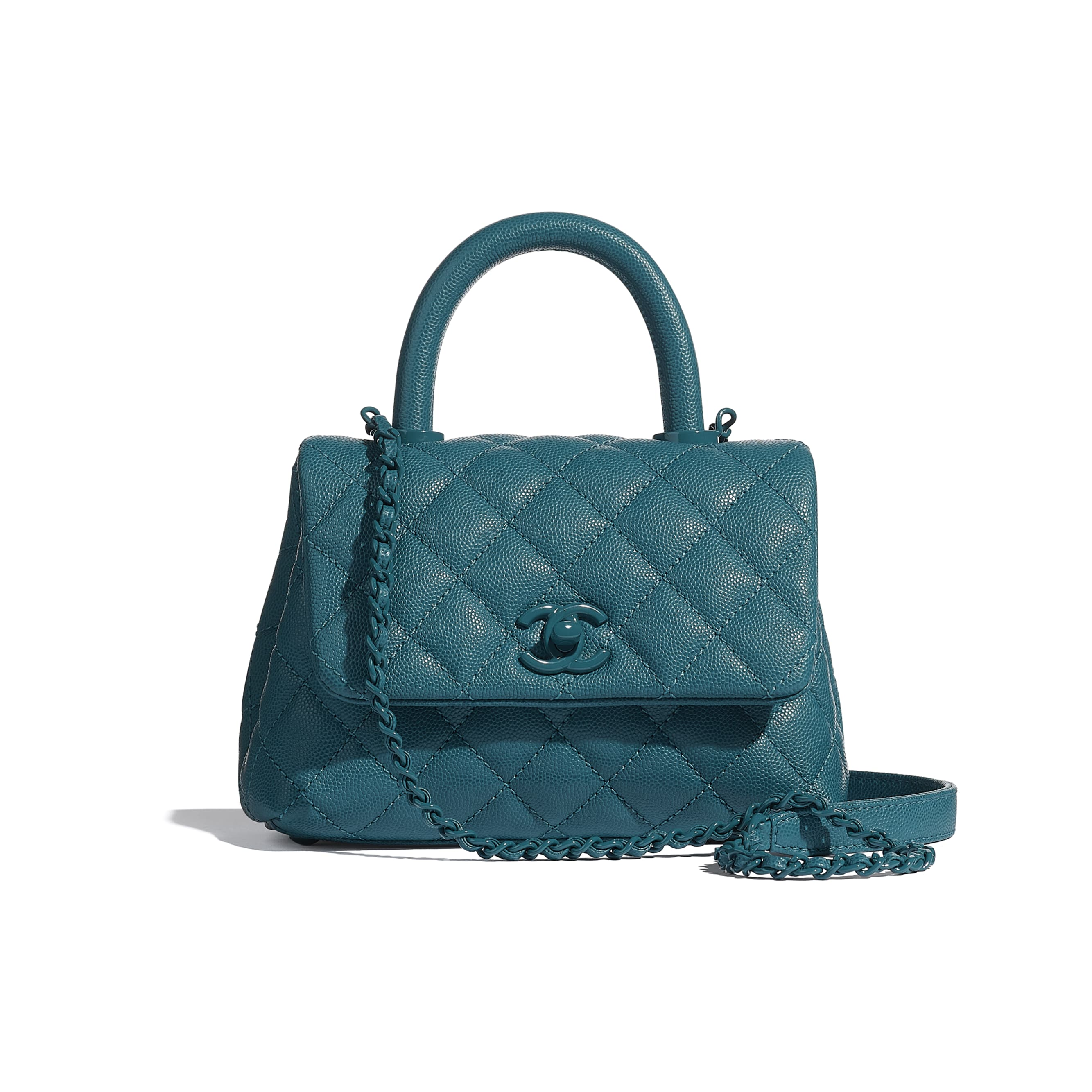 Mini Flap Bag with Handle - Turquoise - Grained Calfskin & Lacquered Metal - CHANEL - Default view - see standard sized version
