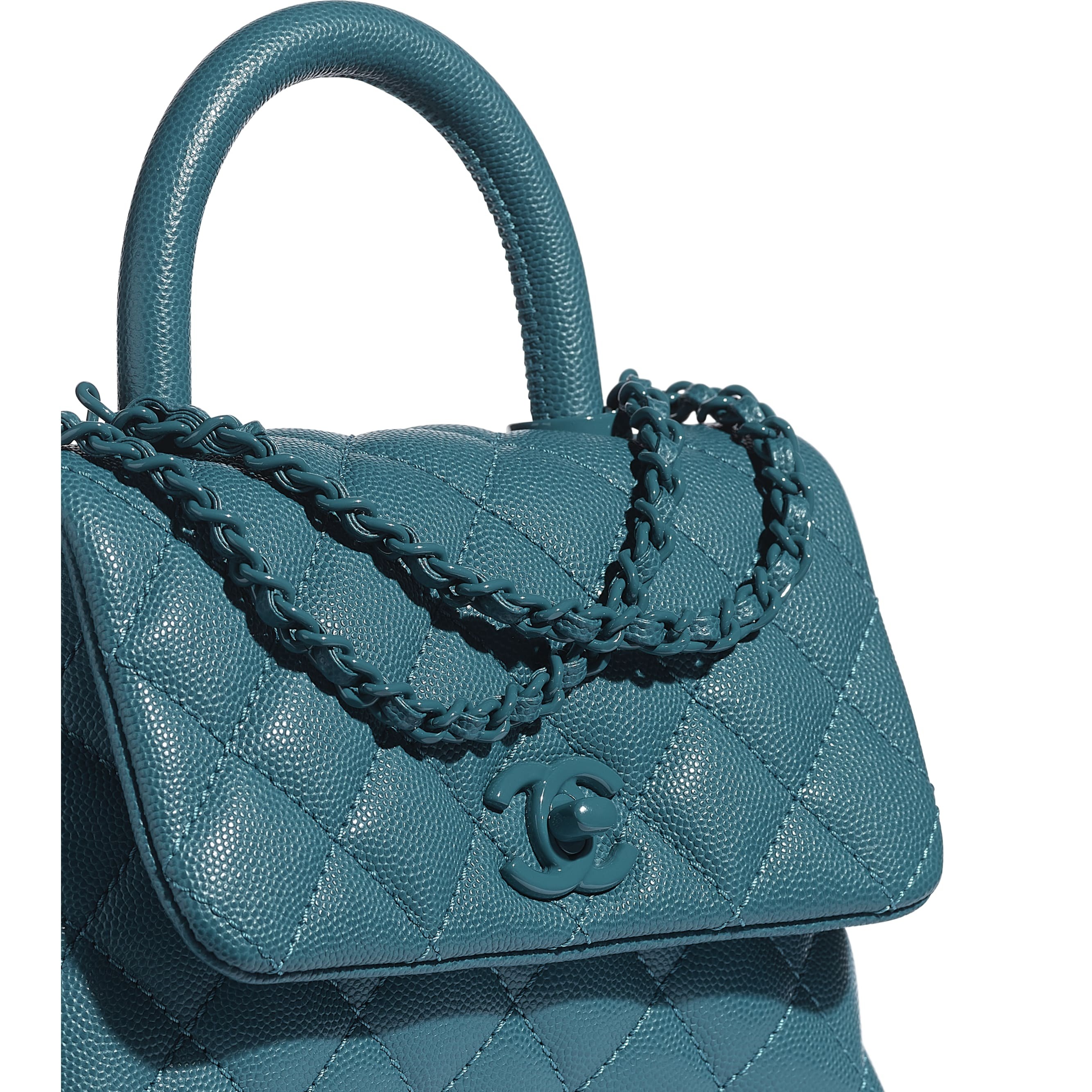 Mini Flap Bag with Handle - Turquoise - Grained Calfskin & Lacquered Metal - CHANEL - Extra view - see standard sized version
