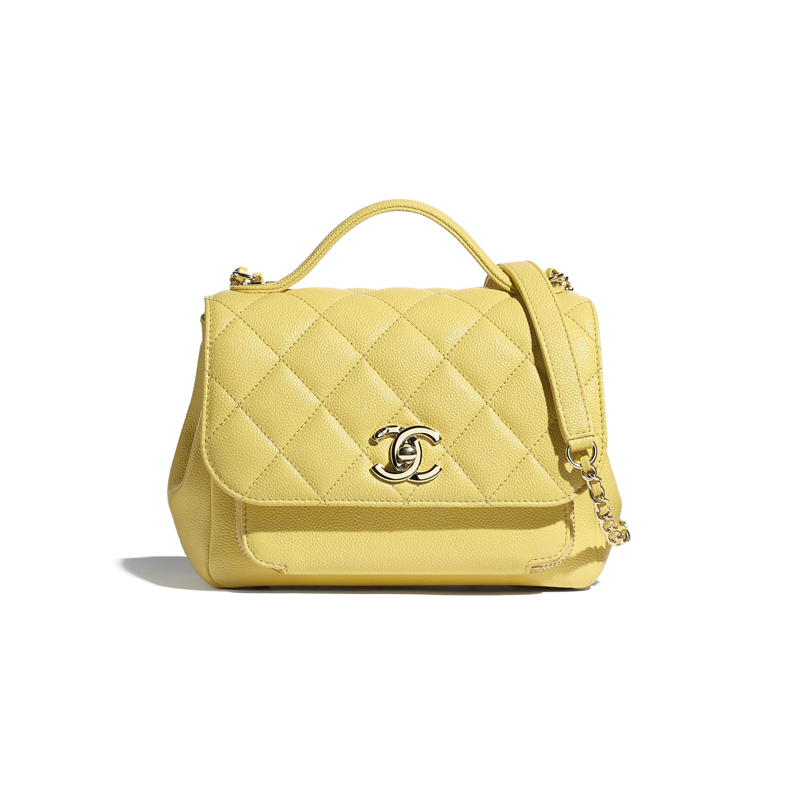 Mini Flap Bag with Handle - Yellow - Grained Calfskin & Gold-Tone Metal - CHANEL - Default view - see standard sized version