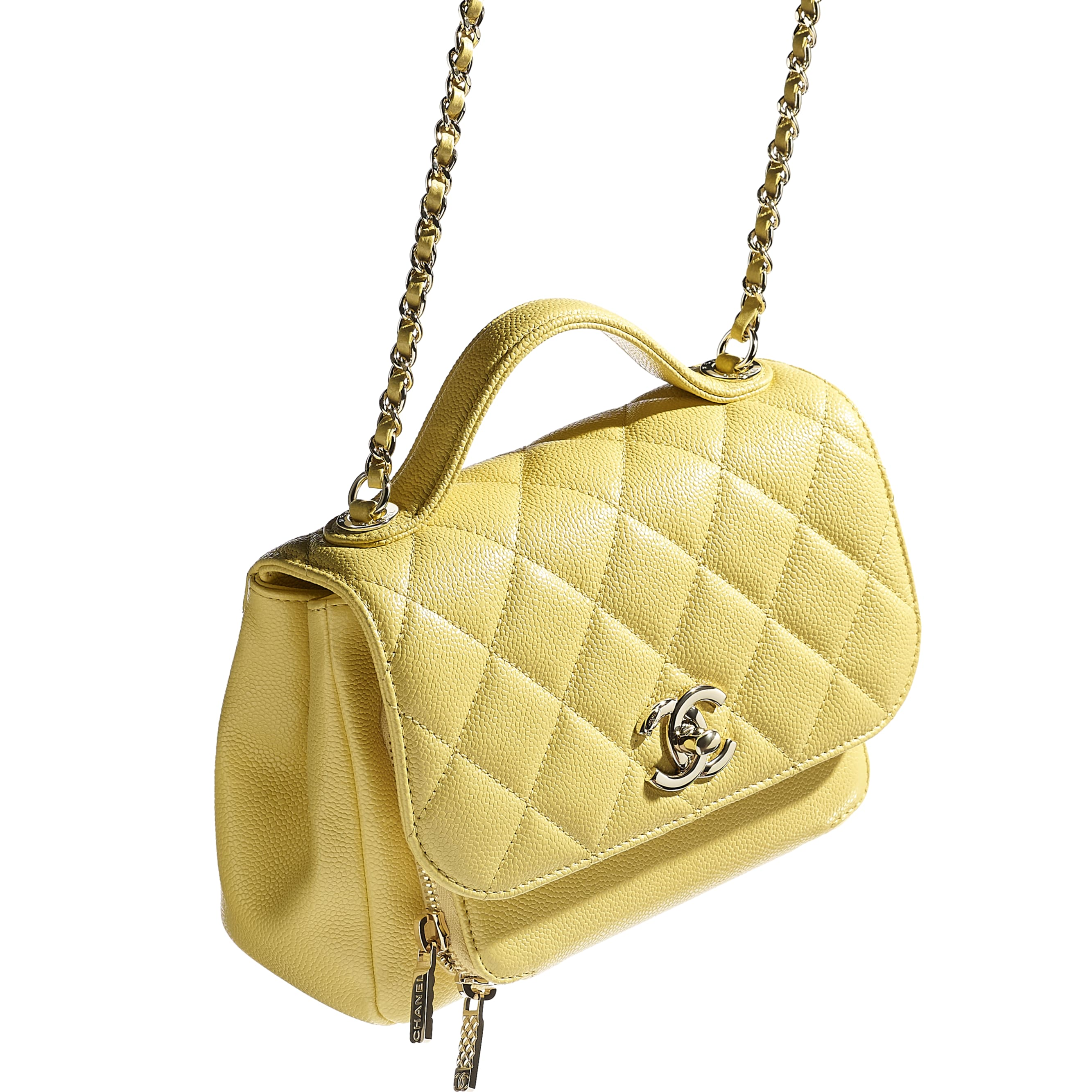 Mini Flap Bag with Handle - Yellow - Grained Calfskin & Gold-Tone Metal - CHANEL - Extra view - see standard sized version