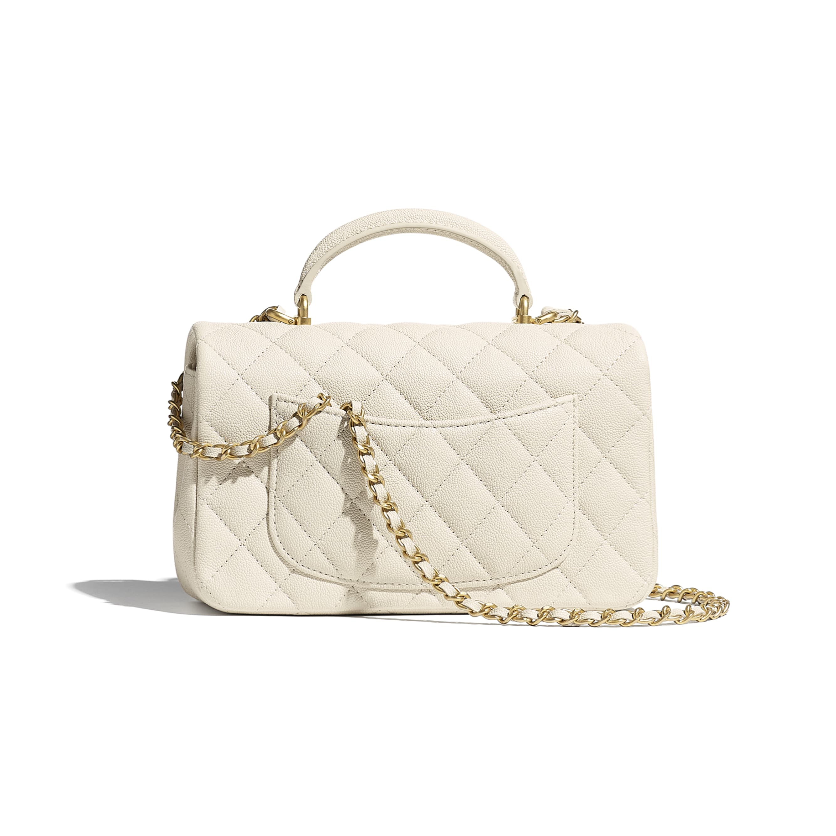 Mini Flap Bag with Top Handle - Beige - Grained Calfskin & Gold-Tone Metal - CHANEL - Alternative view - see standard sized version