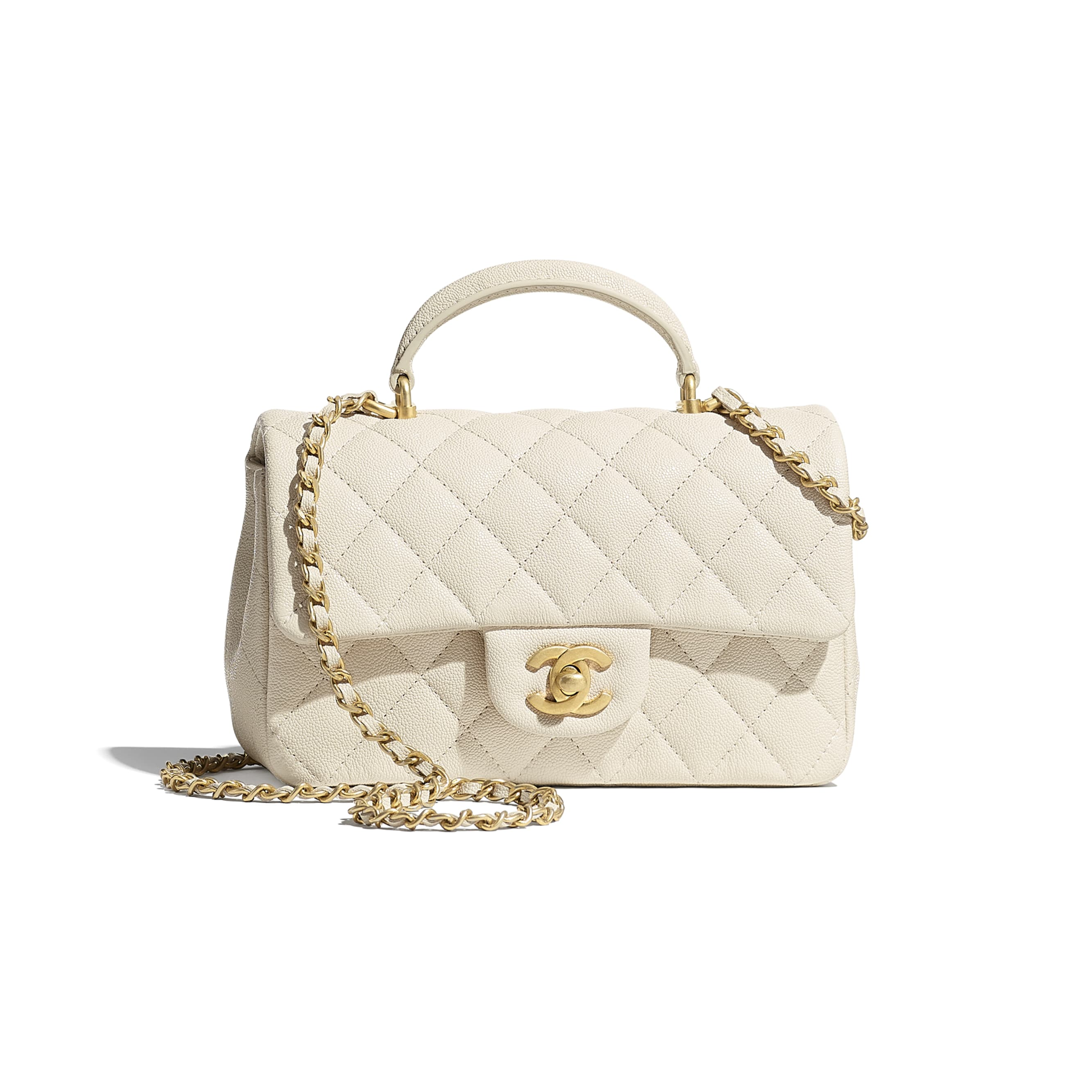 Mini Flap Bag with Top Handle - Beige - Grained Calfskin & Gold-Tone Metal - CHANEL - Default view - see standard sized version