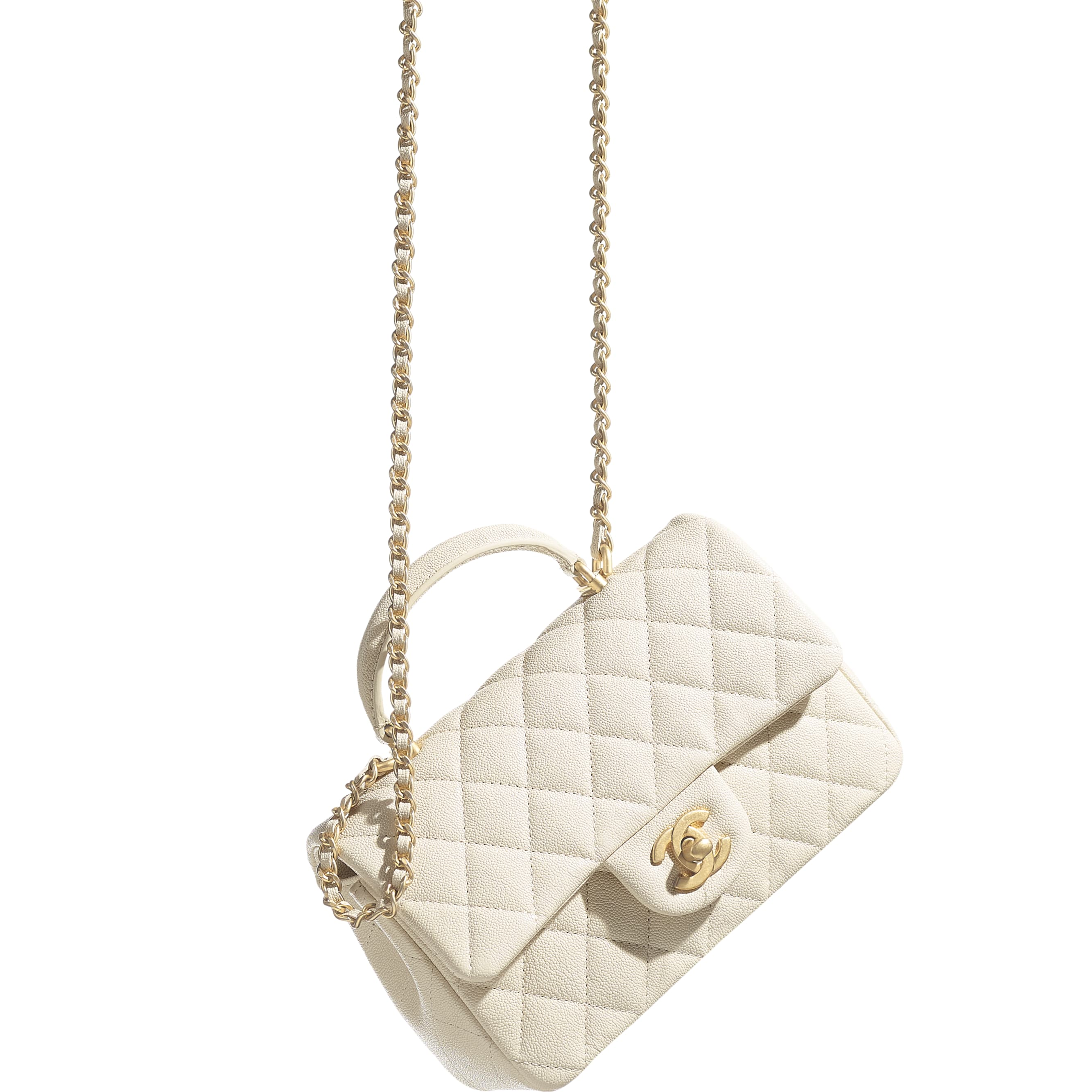 Mini Flap Bag with Top Handle - Beige - Grained Calfskin & Gold-Tone Metal - CHANEL - Extra view - see standard sized version