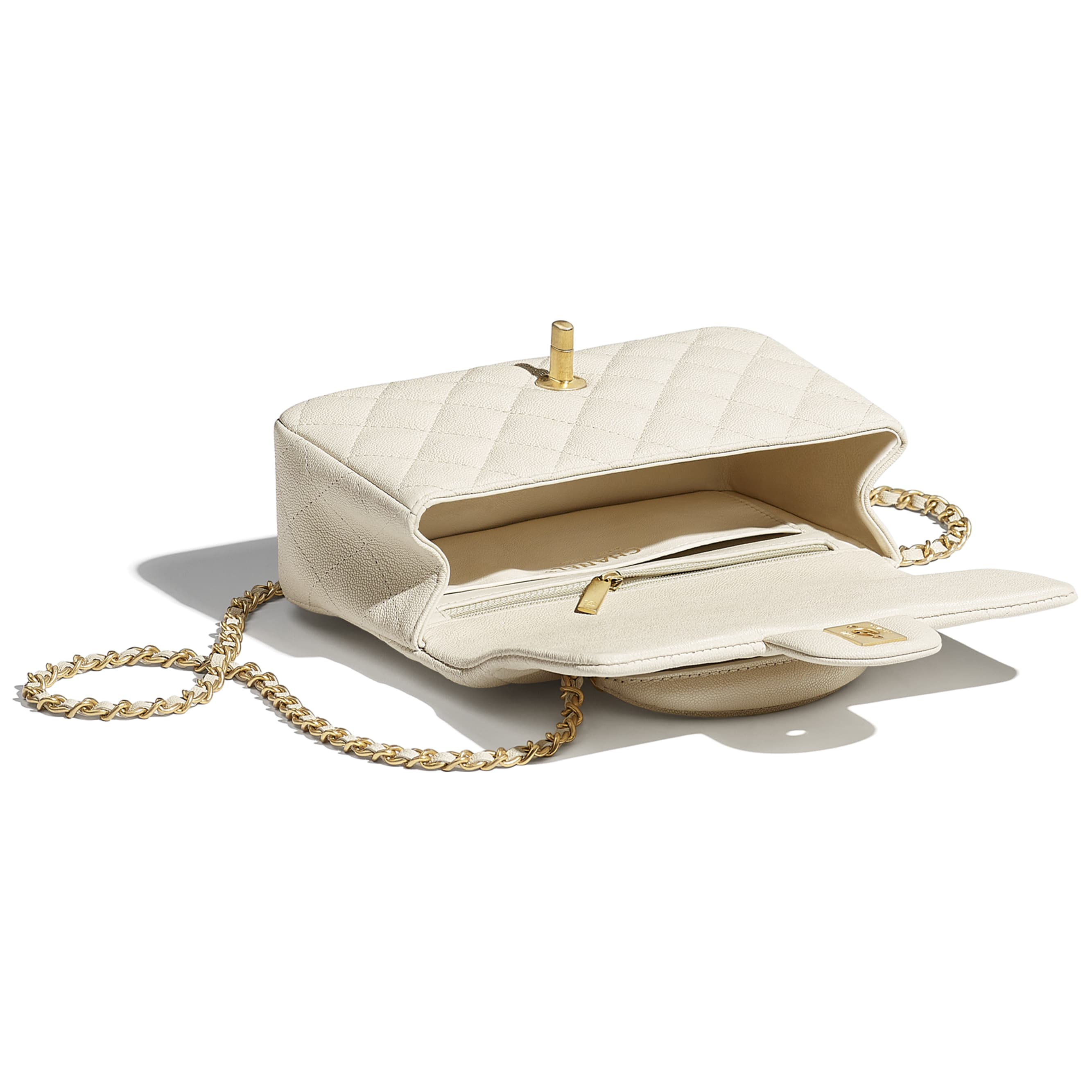 Mini Flap Bag with Top Handle - Beige - Grained Calfskin & Gold-Tone Metal - CHANEL - Other view - see standard sized version