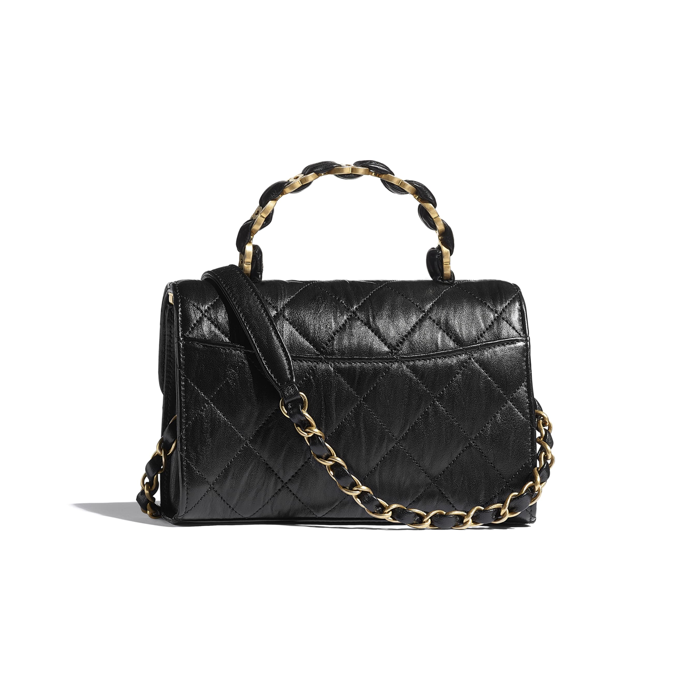 Mini Flap Bag with Top Handle - Black - Crumpled Lambskin & Gold-Tone Metal - CHANEL - Alternative view - see standard sized version