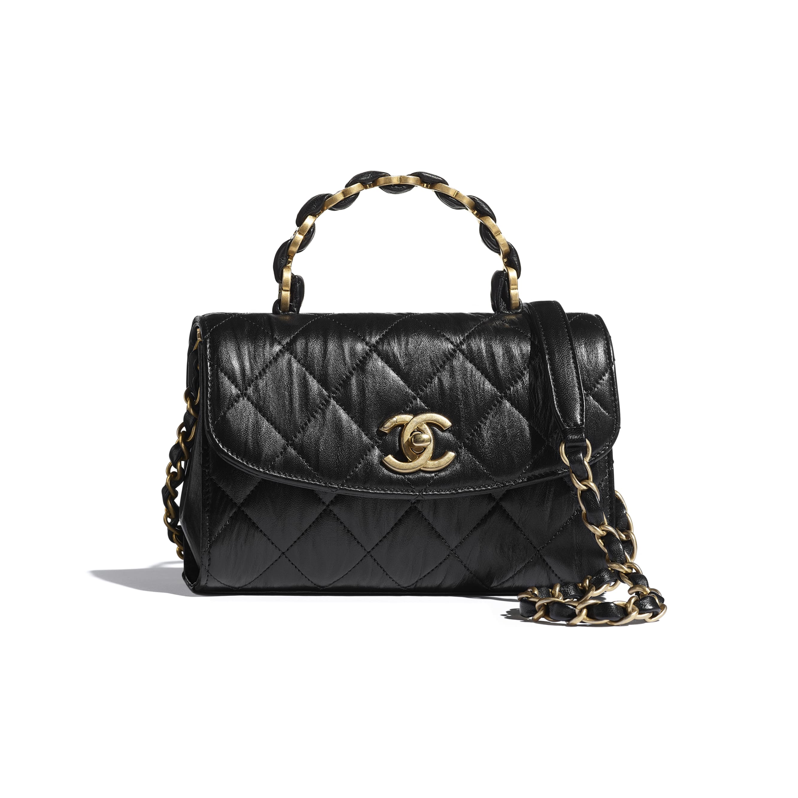 Mini Flap Bag with Top Handle - Black - Crumpled Lambskin & Gold-Tone Metal - CHANEL - Default view - see standard sized version