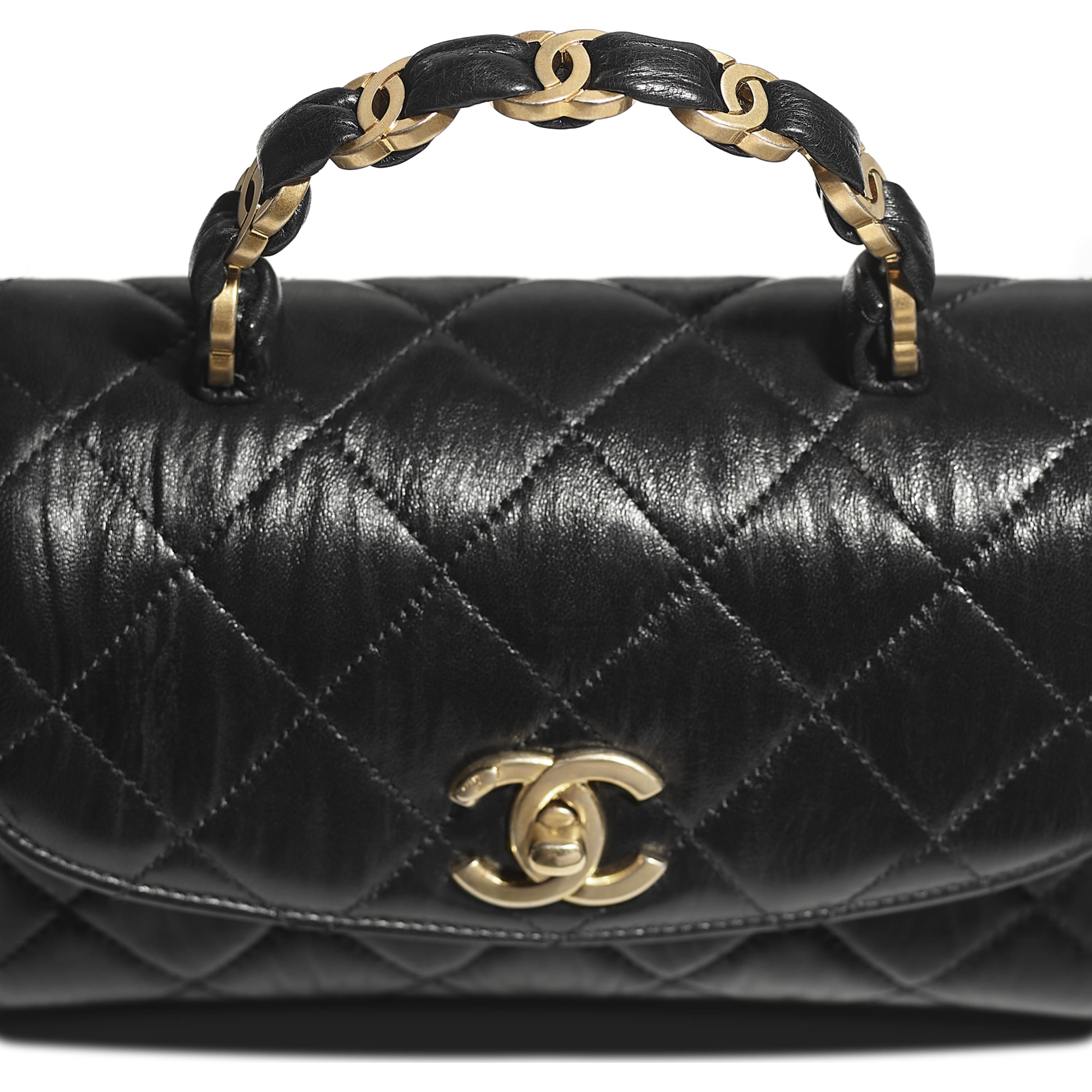 Mini Flap Bag with Top Handle - Black - Crumpled Lambskin & Gold-Tone Metal - CHANEL - Extra view - see standard sized version