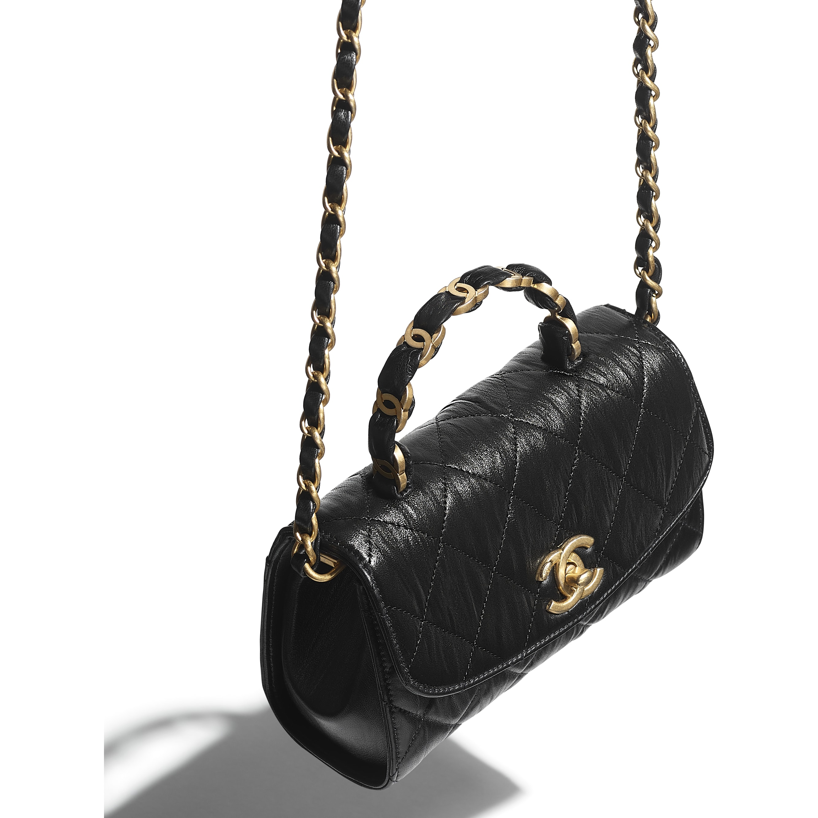Mini Flap Bag with Top Handle - Black - Crumpled Lambskin & Gold-Tone Metal - CHANEL - Other view - see standard sized version