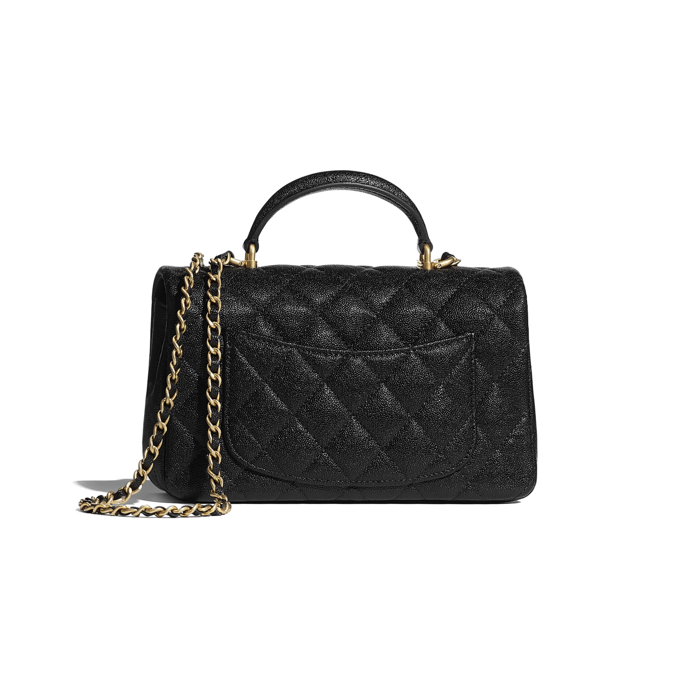 Mini Flap Bag with Top Handle - Black - Grained Calfskin & Gold-Tone Metal - CHANEL - Alternative view - see standard sized version