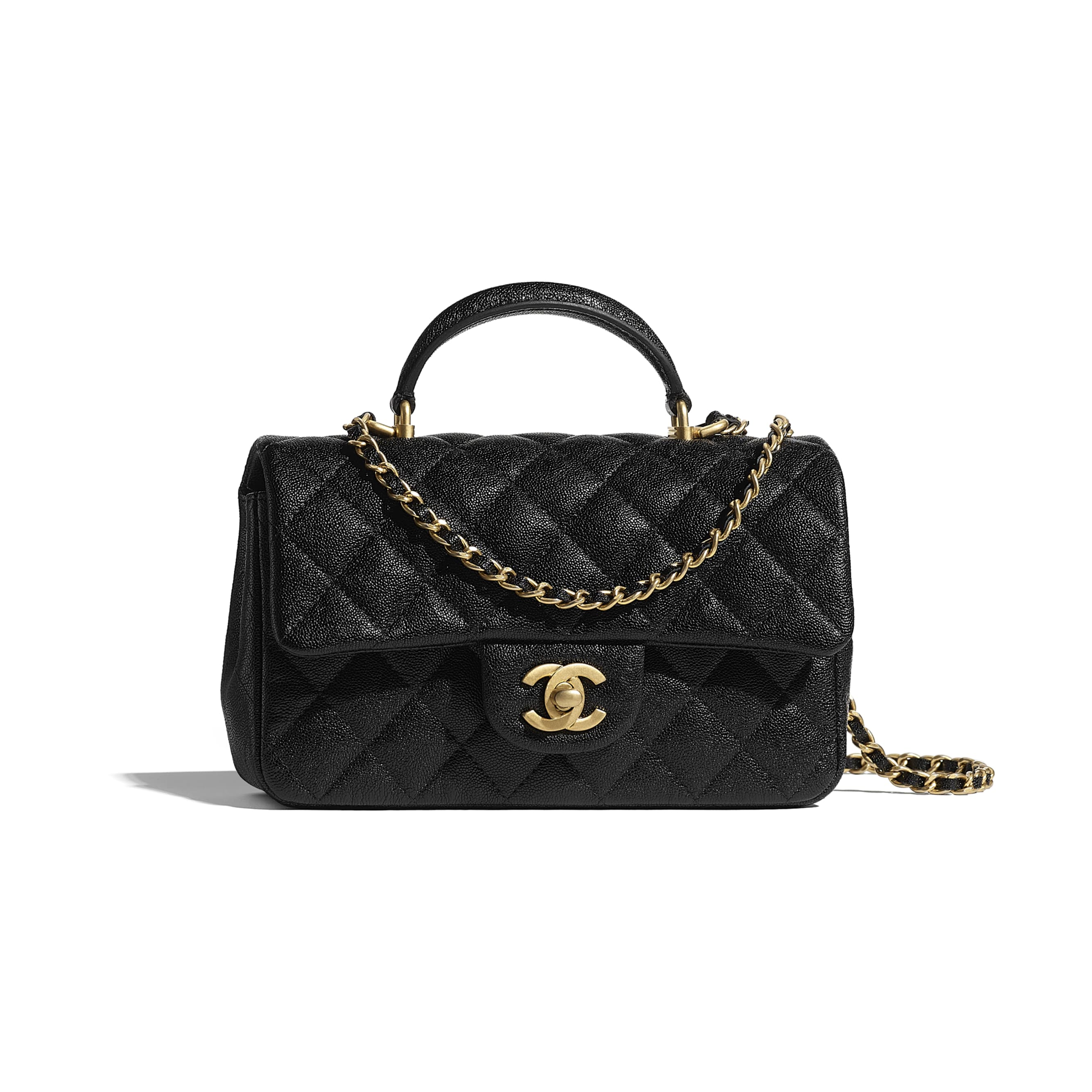 Mini Flap Bag with Top Handle - Black - Grained Calfskin & Gold-Tone Metal - CHANEL - Default view - see standard sized version