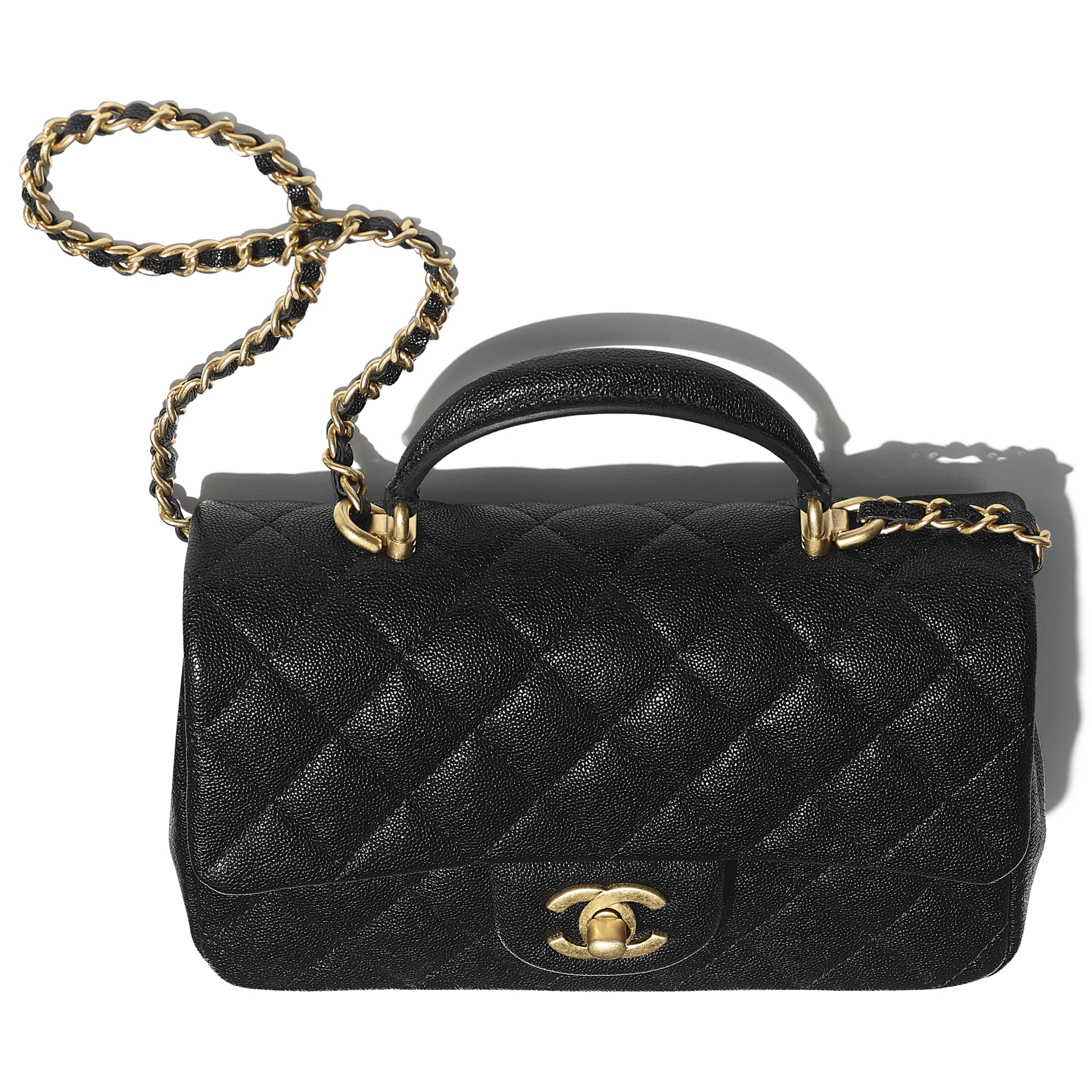 Mini Flap Bag with Top Handle - Black - Grained Calfskin & Gold-Tone Metal - CHANEL - Extra view - see standard sized version