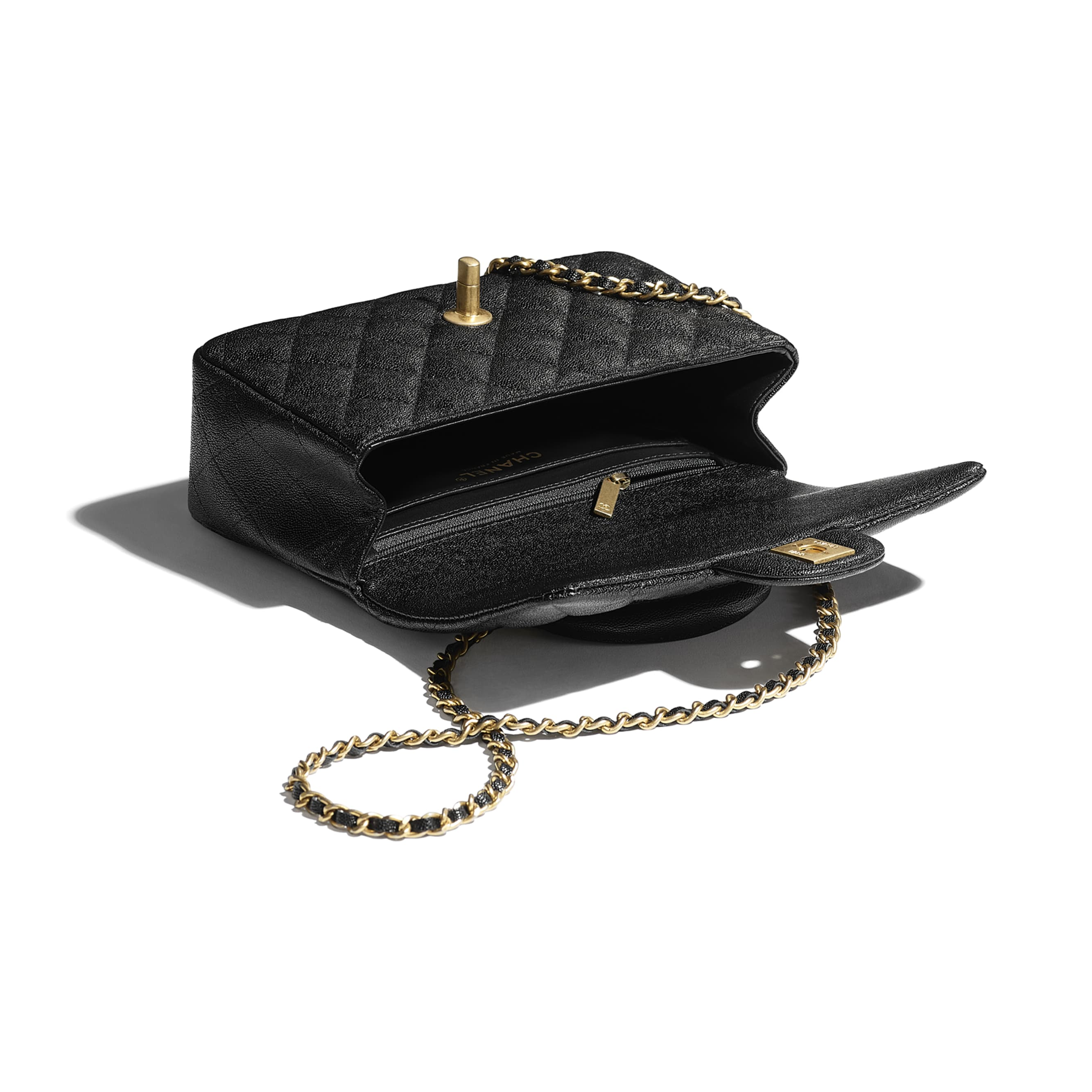 Mini Flap Bag with Top Handle - Black - Grained Calfskin & Gold-Tone Metal - CHANEL - Other view - see standard sized version