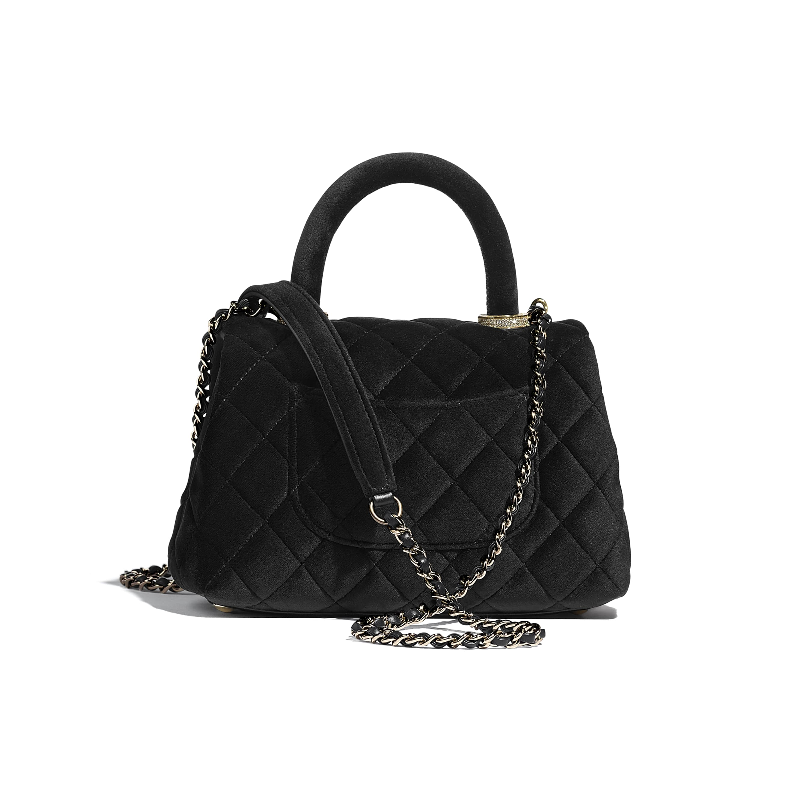 Mini Flap Bag with Top Handle - Black - Velvet, Diamanté & Gold-Tone Metal - CHANEL - Alternative view - see standard sized version