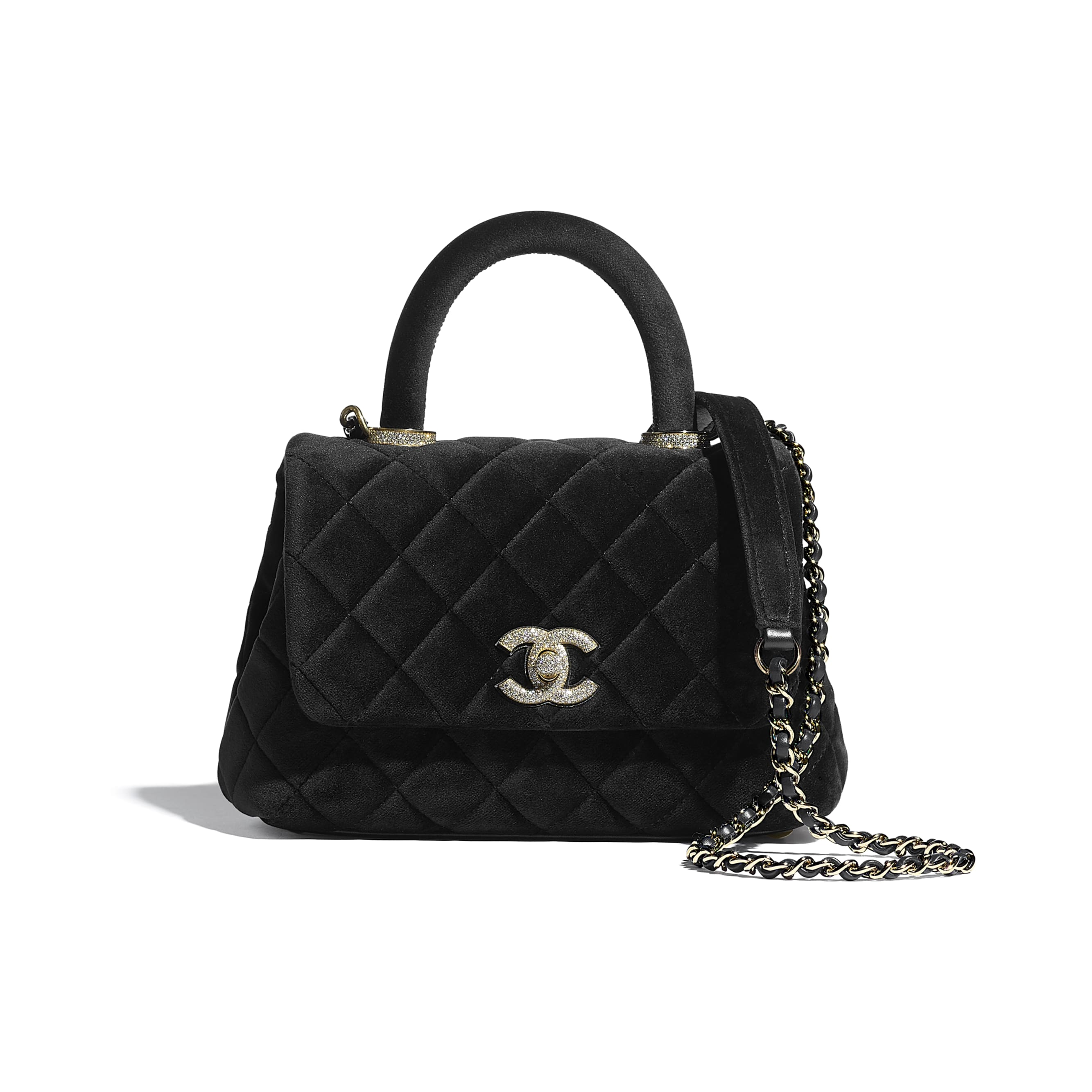 Mini Flap Bag with Top Handle - Black - Velvet, Diamanté & Gold-Tone Metal - CHANEL - Default view - see standard sized version